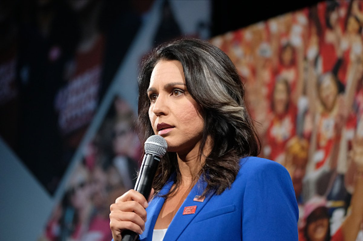 Representative Tulsi Gabbard, a Democrat from Hawaii and 2020 presidential candidate, speaks during the Everytown for Gun Safety Presidential Gun Sense Forum, in Des Moines Iowa, U.S., on Saturday, Aug. 10, 2019. The forum provides an opportunity for gun safety advocates to hear gun legislation proposals from 16 of the presidential candidates. Photographer: Alex Wroblewski/Bloomberg via Getty Images