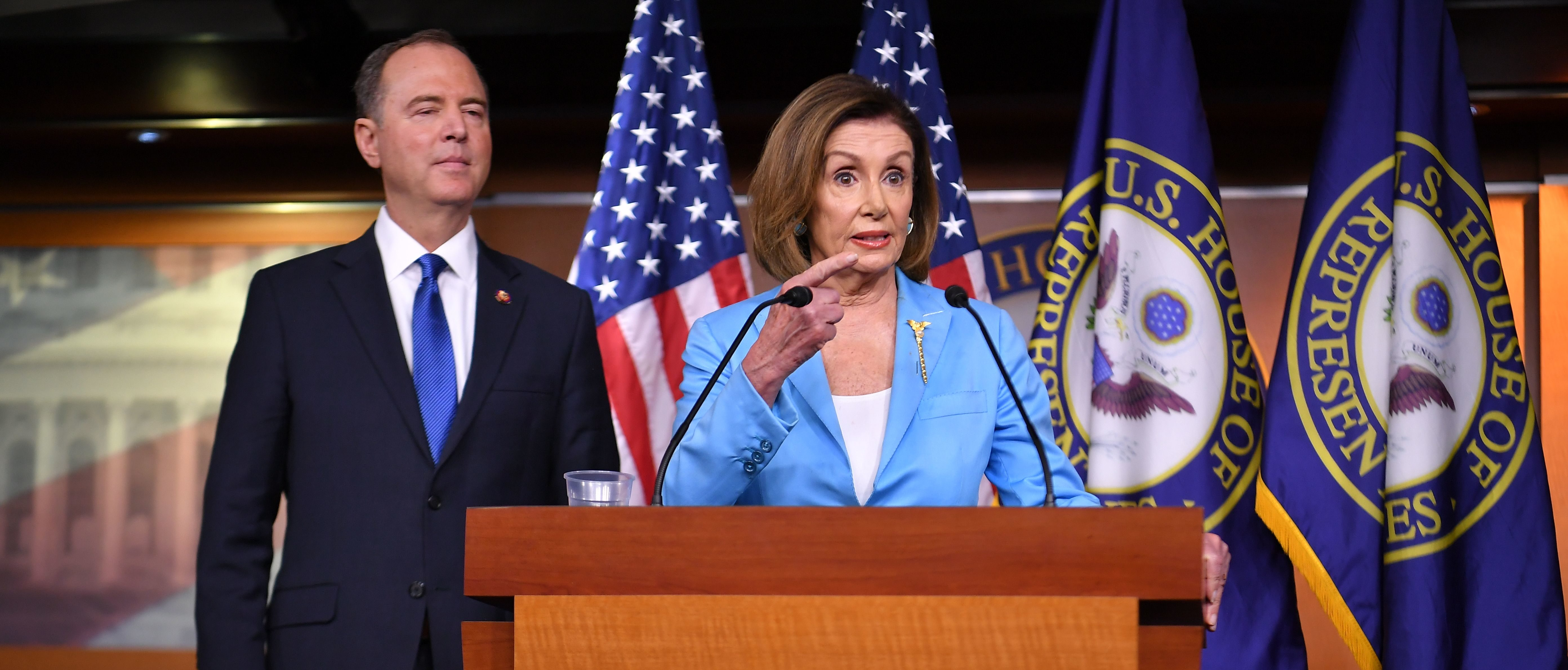 House Speaker Nancy Pelosi and House Intelligence Committee Chair Adam Schiff, D-CA, speak during a press conference in the House Studio of the US Capitol in Washington, DC on October 2, 2019. (Photo by MANDEL NGAN/AFP via Getty Images)