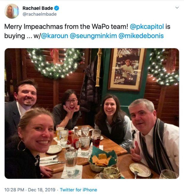 Washington Post Reporters Celebrate 'Impeachmas' (Rachael Bade: Twitter)