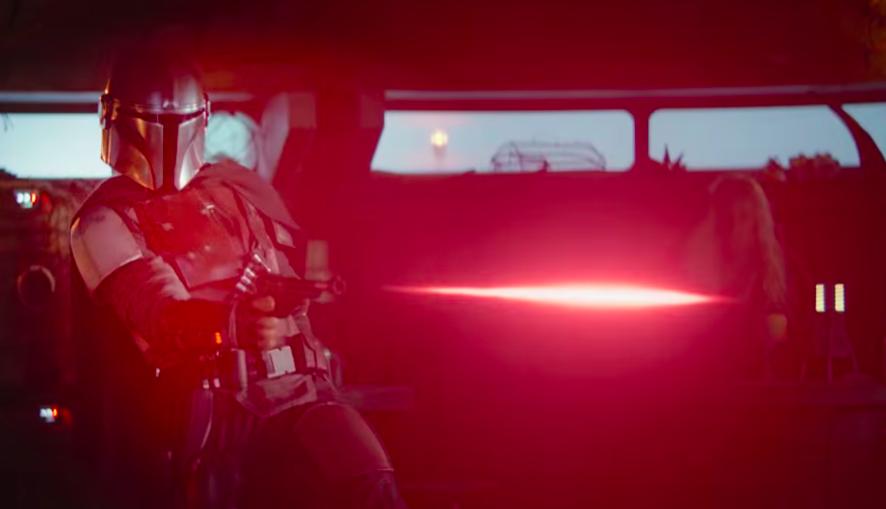 Mando fires his weapon. (Youtube/Disney Plus)