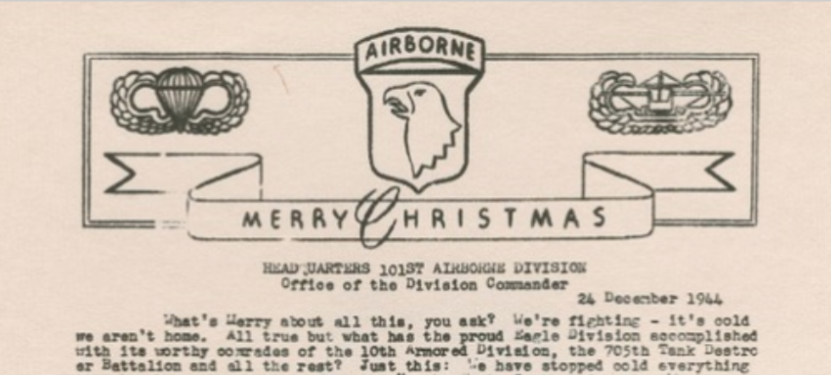 Read The Christmas Letter Gen. McAuliffe Sent His Surrounded, Outnumbered Troops In Bastogne, 1944