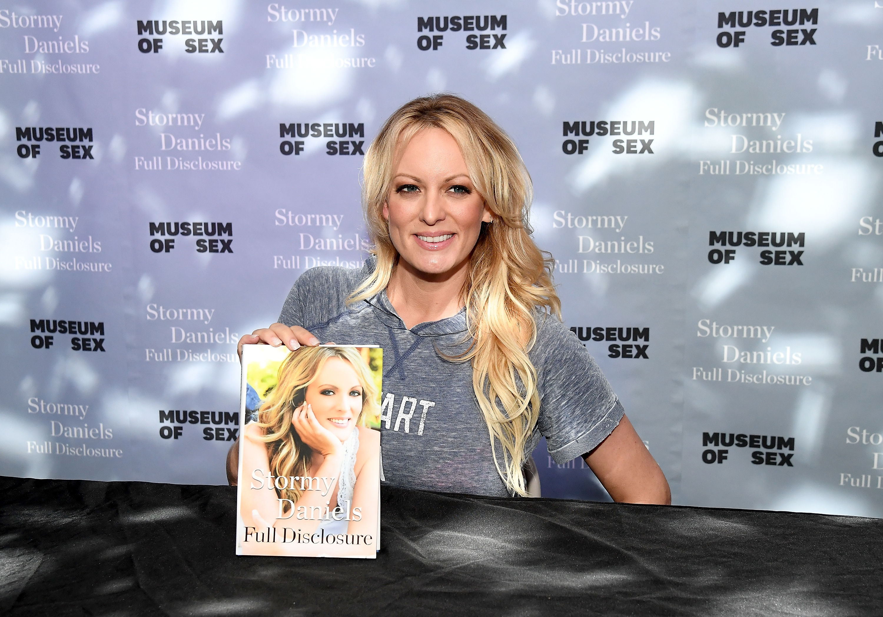 "Stormy Daniels with her new book ""Full Disclosure"" at New York City's Museum of Sex on October 8, 2018 (Nicholas Hunt/Getty Images)"