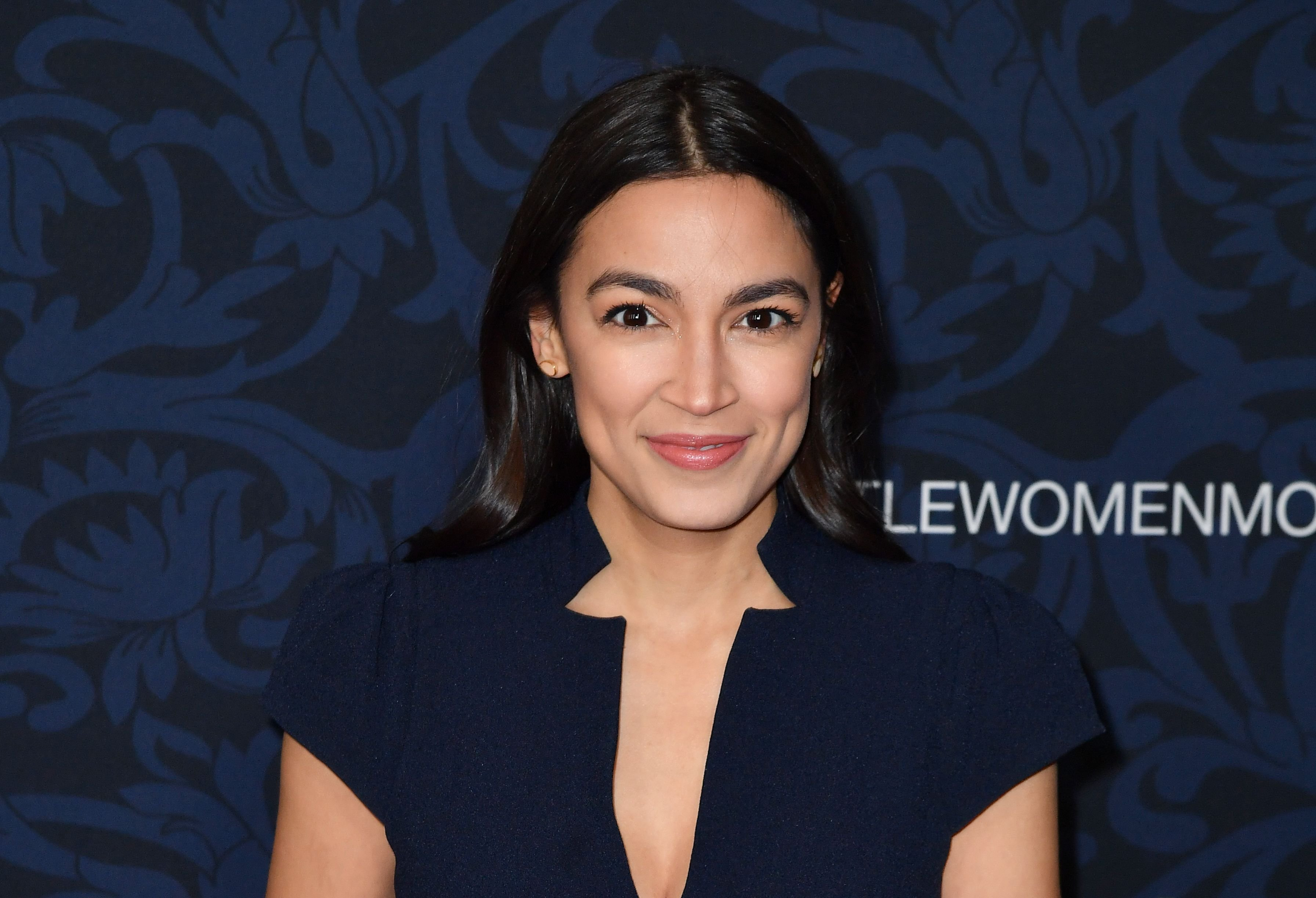 """US Representative Alexandria Ocasio-Cortez arrives for """"Little Women"""" world premiere at the Museum of Modern Art in New York on December 7, 2019. (Photo by ANGELA WEISS / AFP)"""