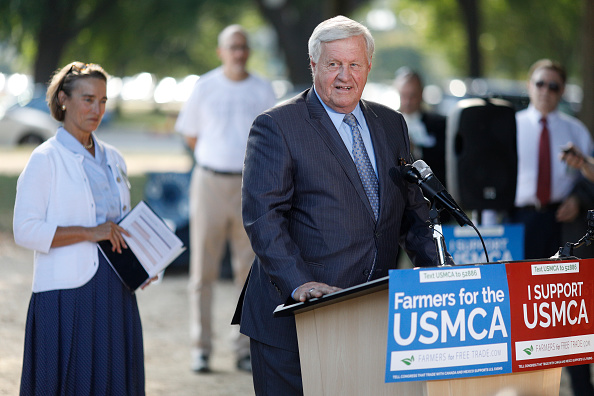 WASHINGTON, DC - SEPTEMBER 12: Chairman of the House Agriculture Committee Rep. Collin Peterson (R-TX) delivers remarks during a rally for the passage of the USMCA trade agreement, on September 12, 2019 in Washington, DC. Several agricultural groups including the American Farm Bureau Federation, the American Soybean Association and the National Corn Growers Association held the rally to urge Congress to ratify the trade deal. (Photo by Tom Brenner/Getty Images)