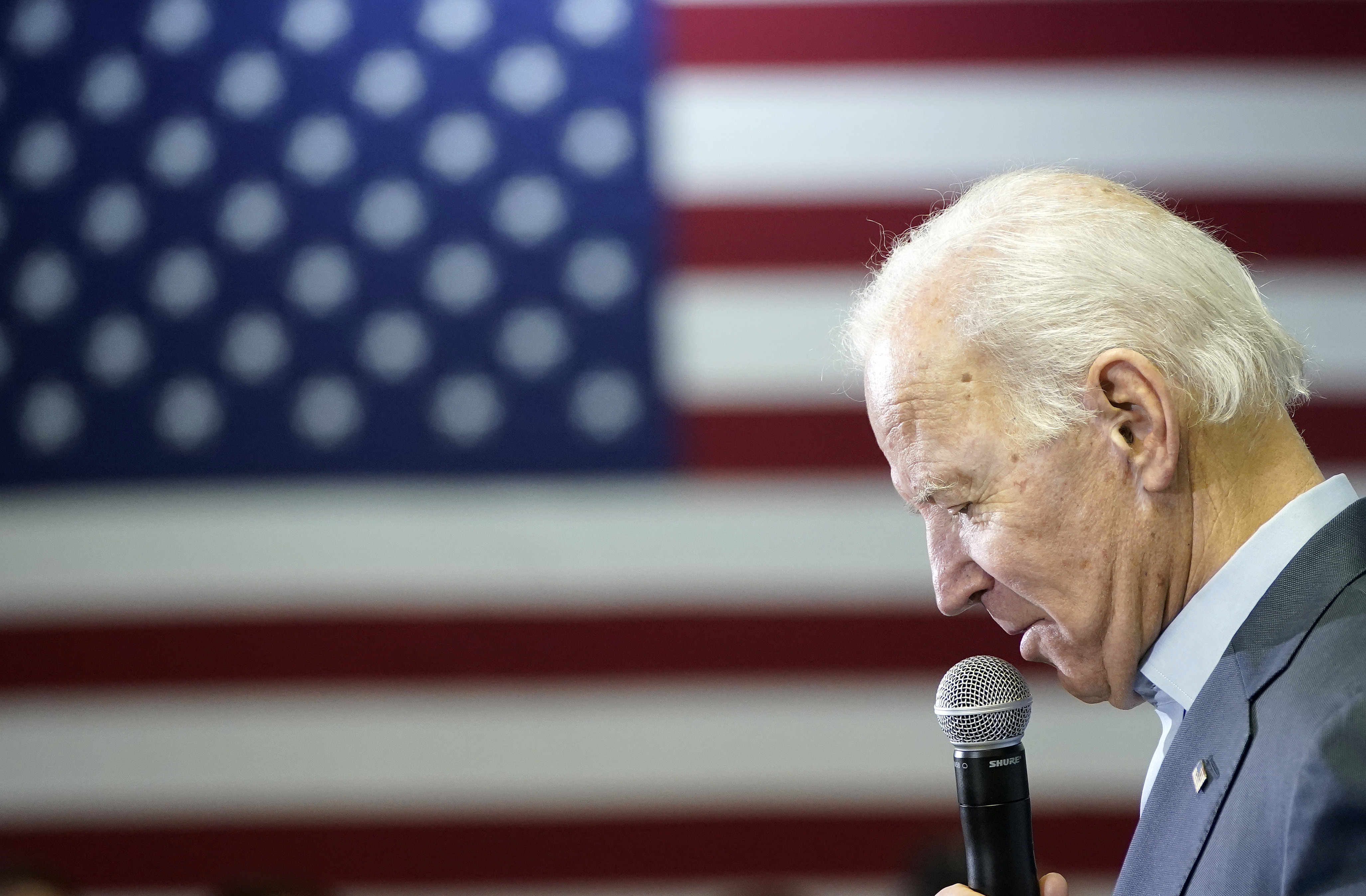Democratic presidential candidate former U.S. Vice president Joe Biden campaigns at a VFW Hall December 7, 2019 in Oelwein, Iowa. Former Democratic presidential candidate John Kerry recently announced his endorsement of Biden with the Iowa caucuses less than two months away. (Photo by Win McNamee/Getty Images)