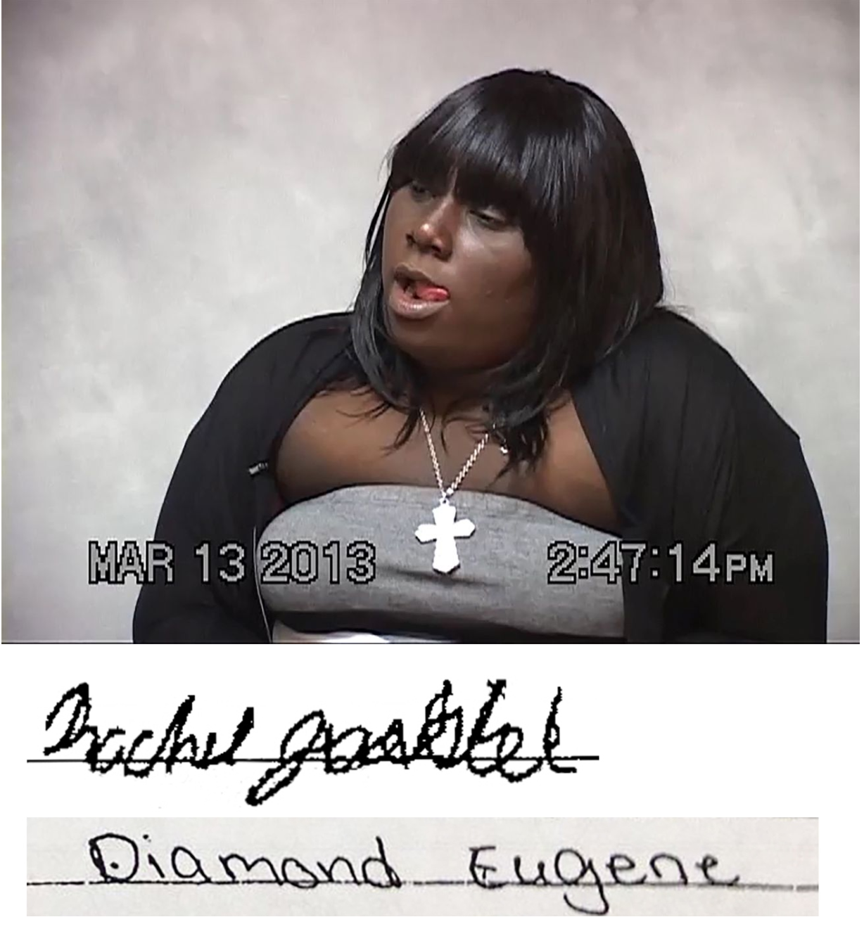 Rachel Jeantel, who testified in the Trayvon Martin case, and a comparison of her signature with that on a letter she says she signed (Joel Gilbert/The Trayvon Hoax)