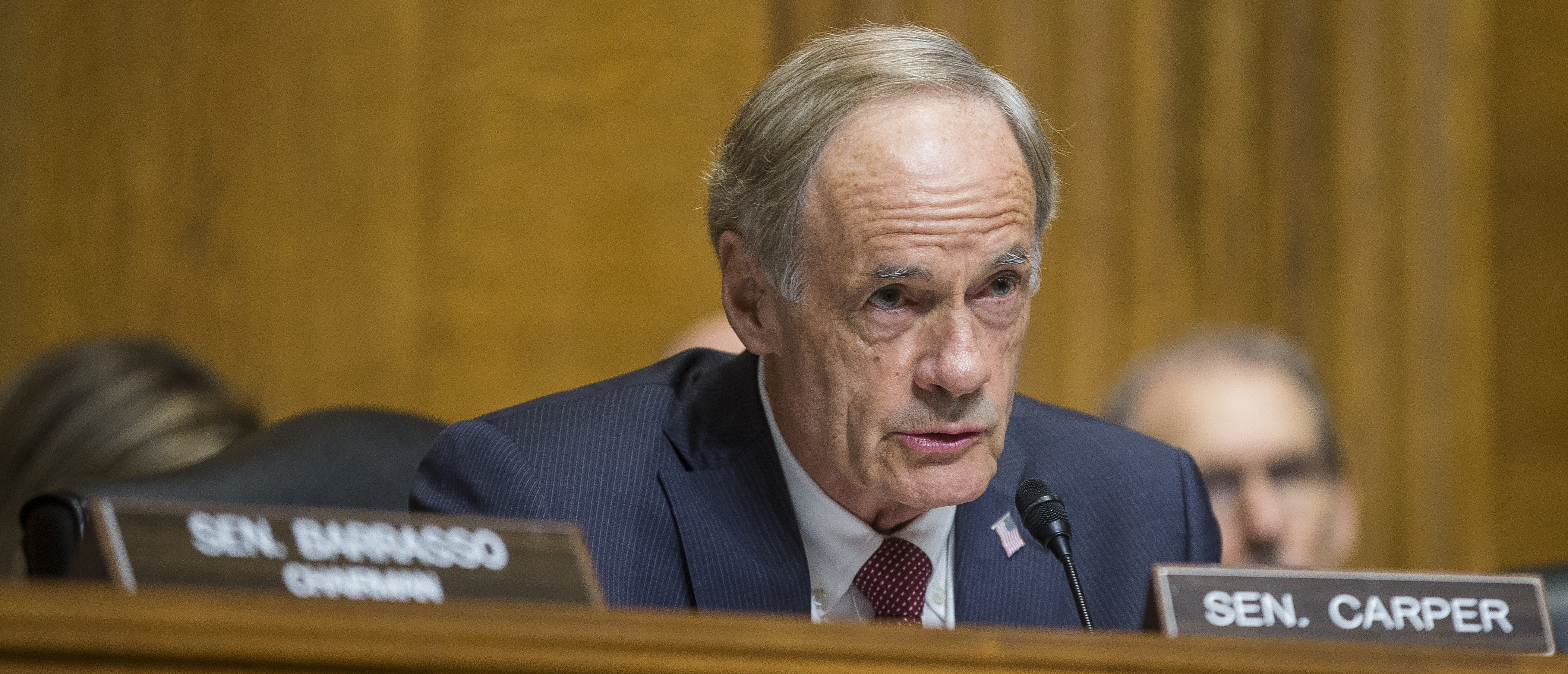 Senate Environment and Public Works Committee Ranking Member Sen. Tom Carper is pictured. (Zach Gibson/Getty Images)