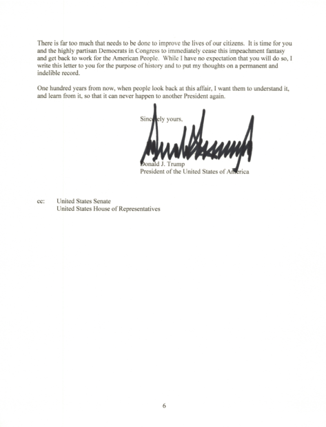 President Donald Trump Letter To House Of Representatives On Impeachment (WH: December 17, 2019)