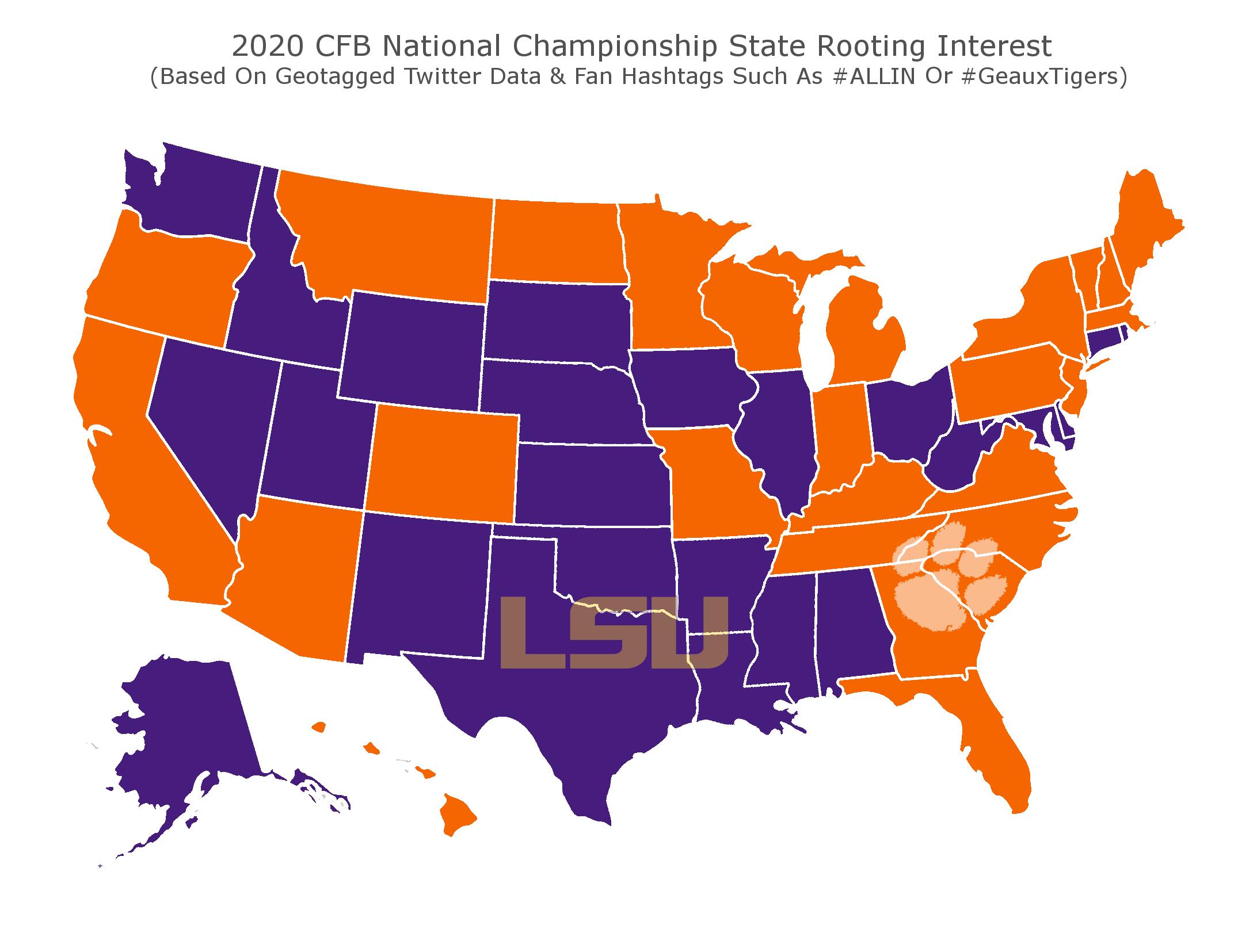 National Title Map (Credit: BetOnline.ag)