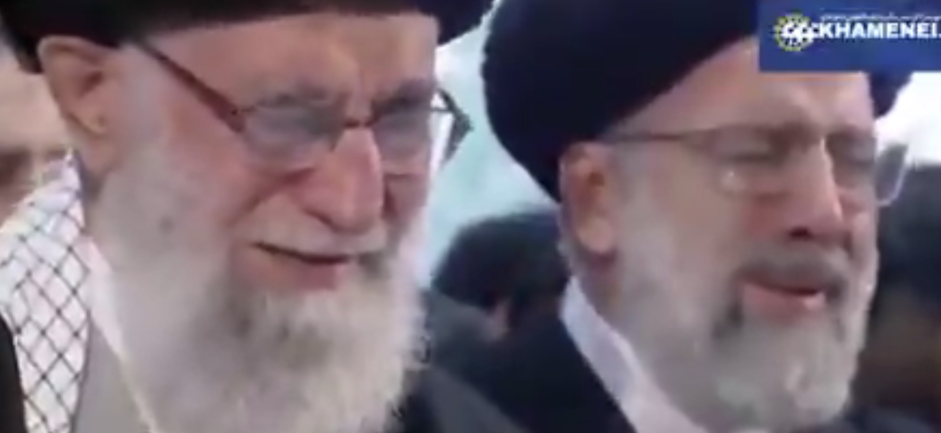 Ayatollah Ali Khamenei openly weeps at the funeral of MGen Qasem Soleimani, Jan. 6, 2020. Twitter screenshot/Imam of Peace