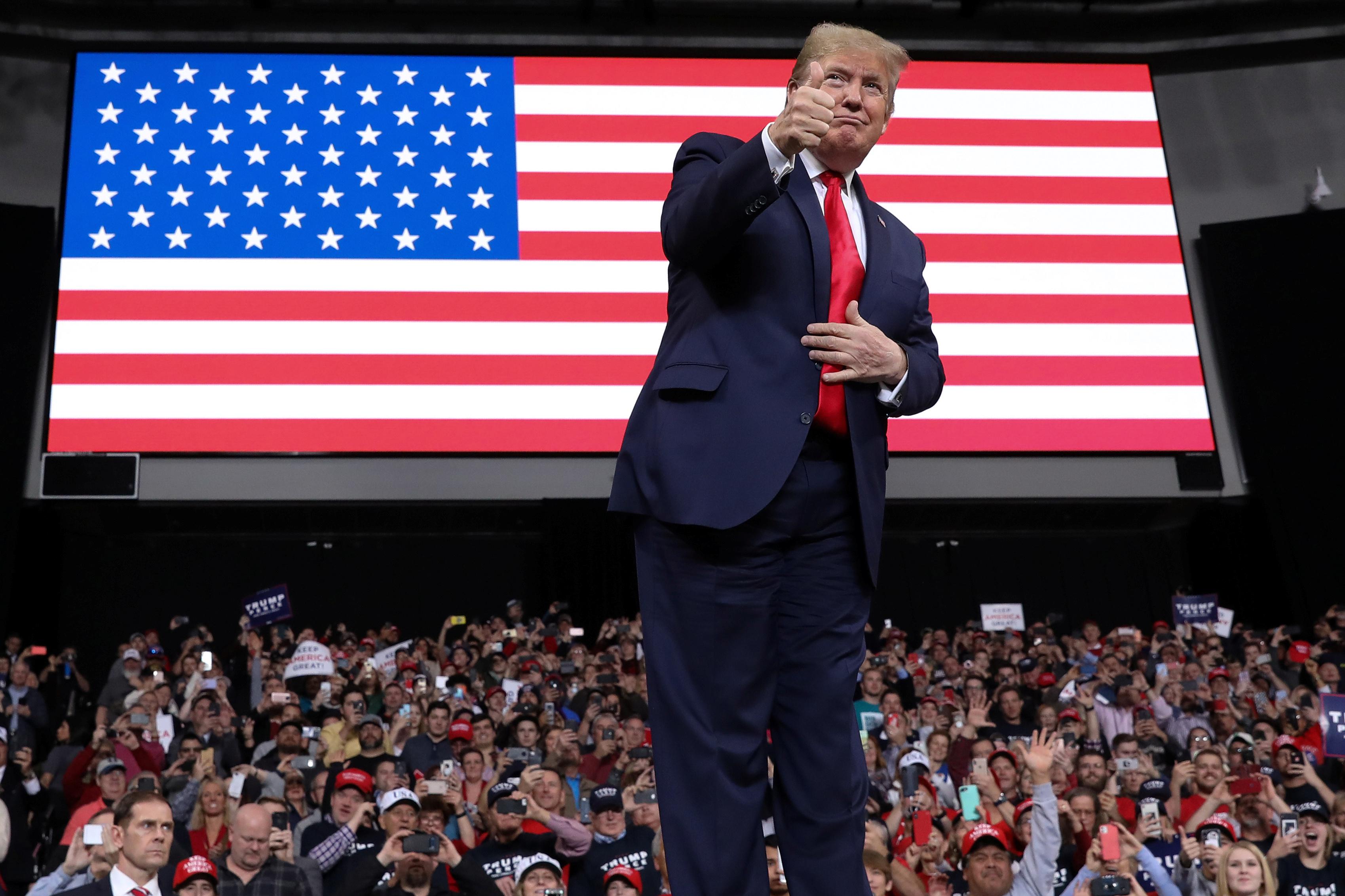 U.S. President Donald Trump rallies with supporters in Toledo, Ohio, U.S. Jan. 9, 2020. REUTERS/Jonathan Ernst