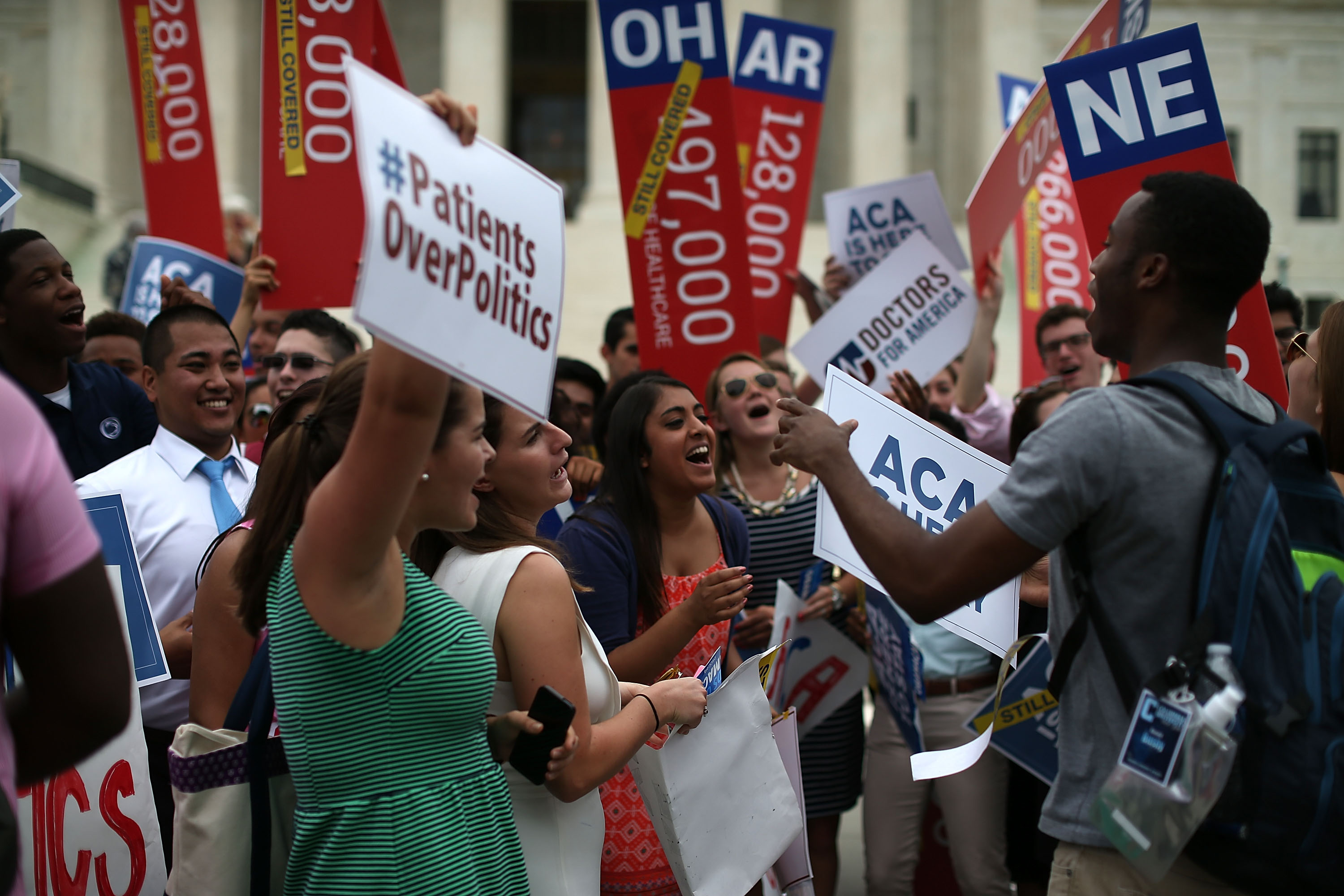 Pro-ACA demonstrators in front of the Supreme Court on June 25, 2015. (Mark Wilson/Getty Images)