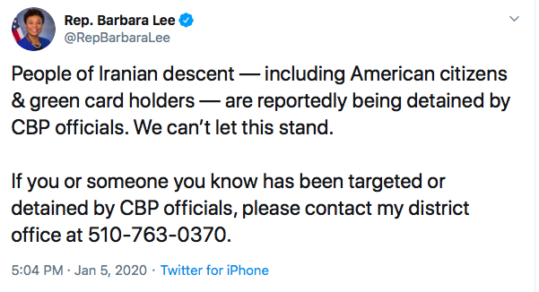 Barbara Lee tweet. Screenshot