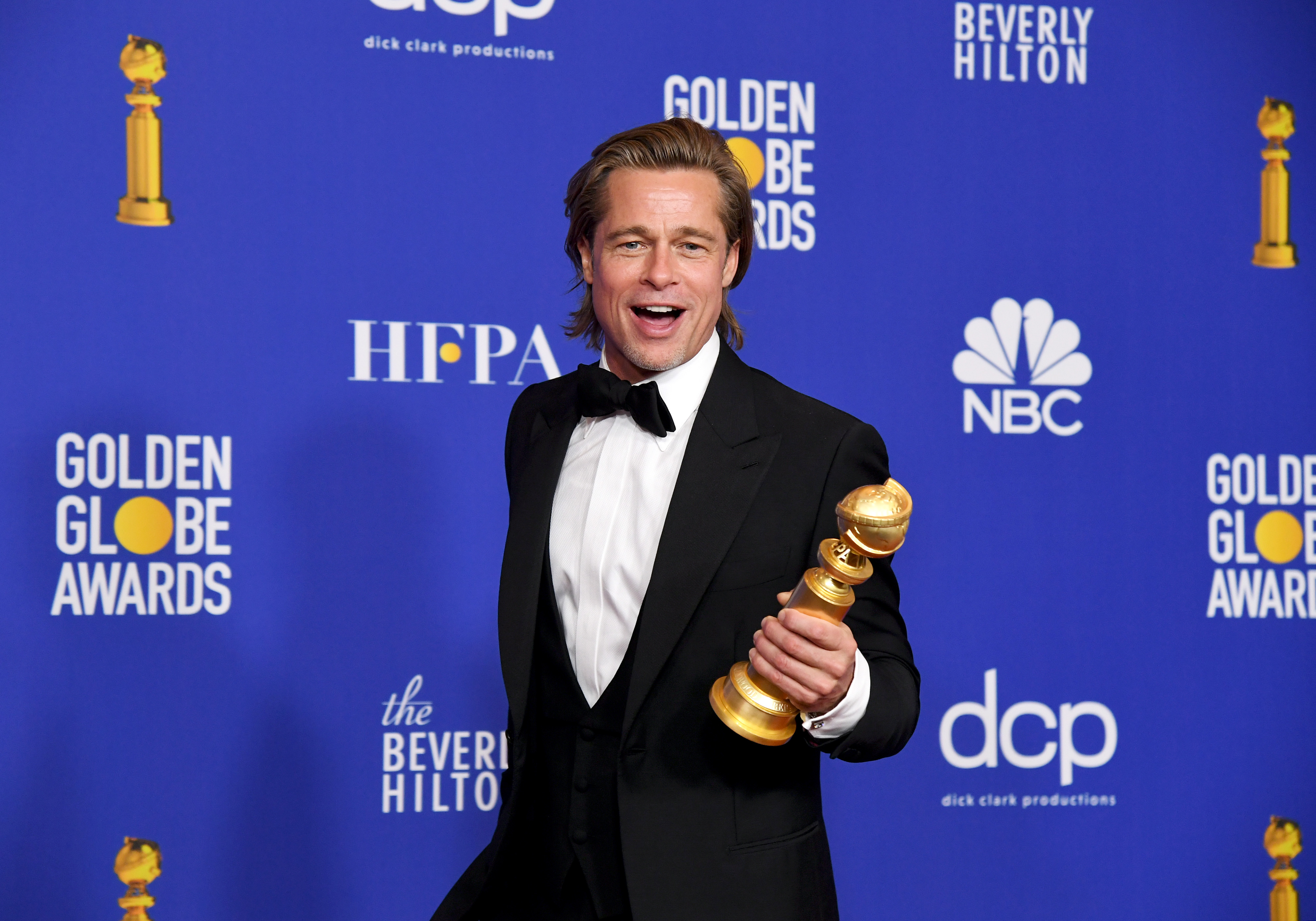 Brad Pitt, winner of Best Performance by a Supporting Actor in a Motion Picture, poses in the press room during the 77th Annual Golden Globe Awards at The Beverly Hilton Hotel on January 05, 2020 in Beverly Hills, California. (Photo by Kevin Winter/Getty Images)