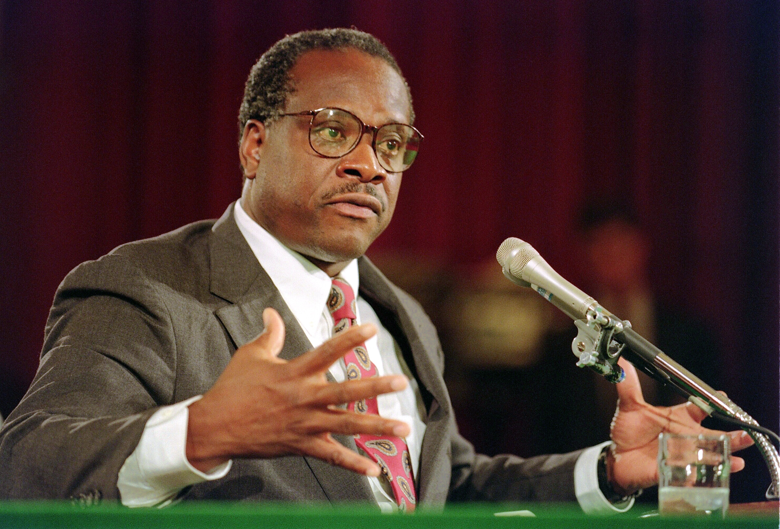 Justice Clarence Thomas during his confirmation hearing for the Supreme Court on September 10, 1991 (J. David Ake/AFP/Getty Images)