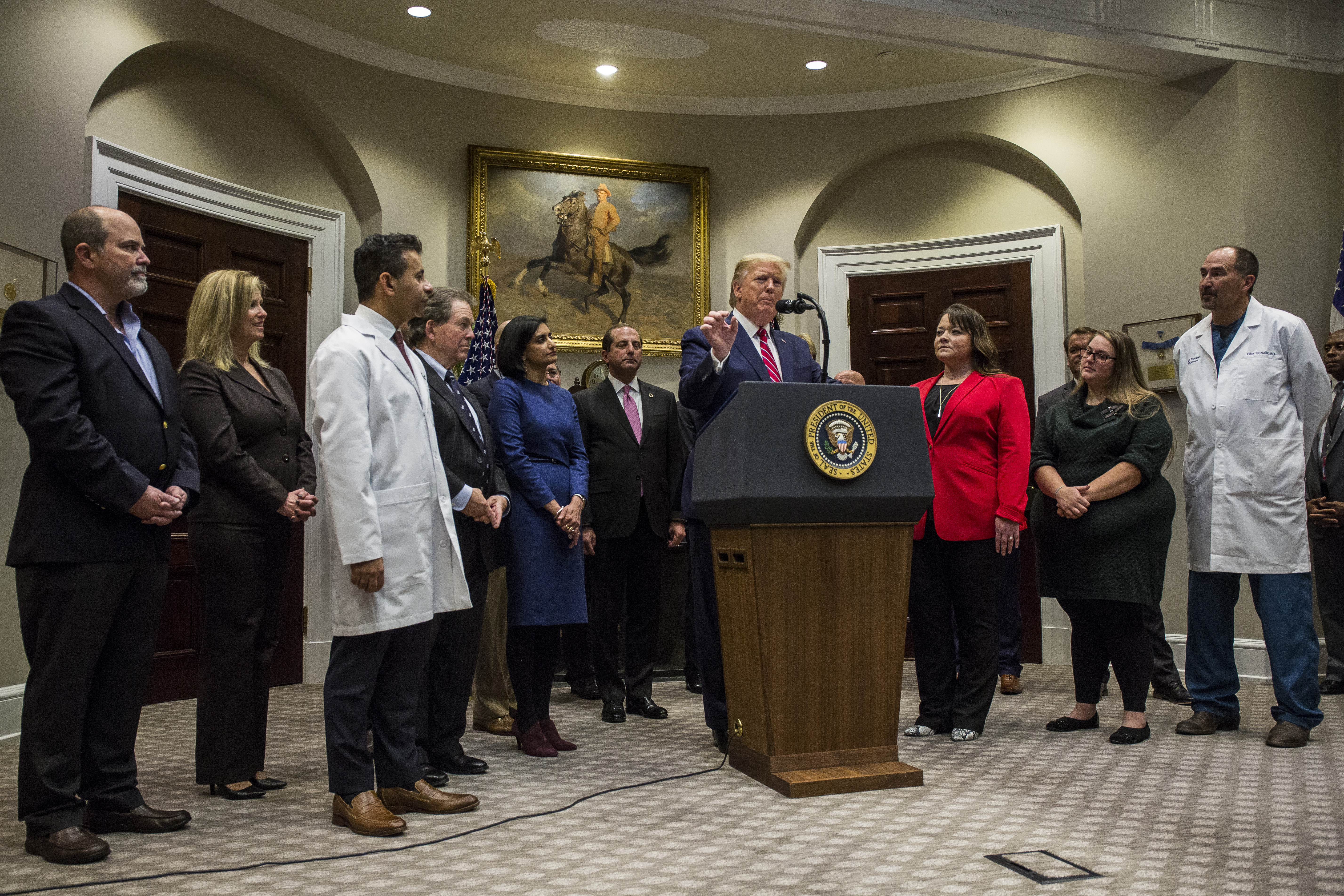 President Donald Trump discusses transparency in health care prices on November 15, 2019. (Zach Gibson/Getty Images)