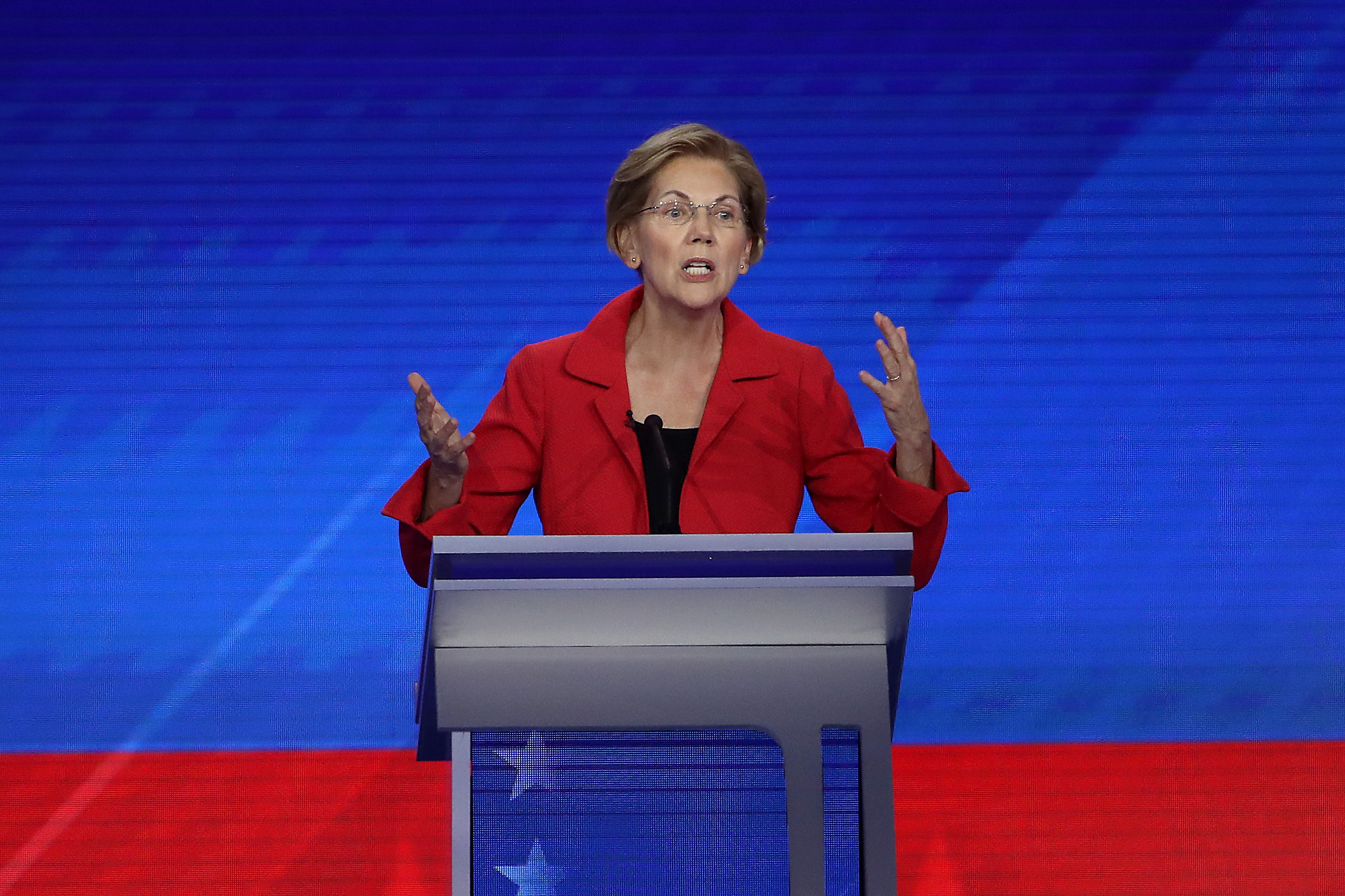 Democratic presidential candidate Sen. Elizabeth Warren (D-MA) speaks during the Democratic Presidential Debate at Texas Southern University's Health and PE Center on September 12, 2019 in Houston, Texas. (Win McNamee/Getty Images)