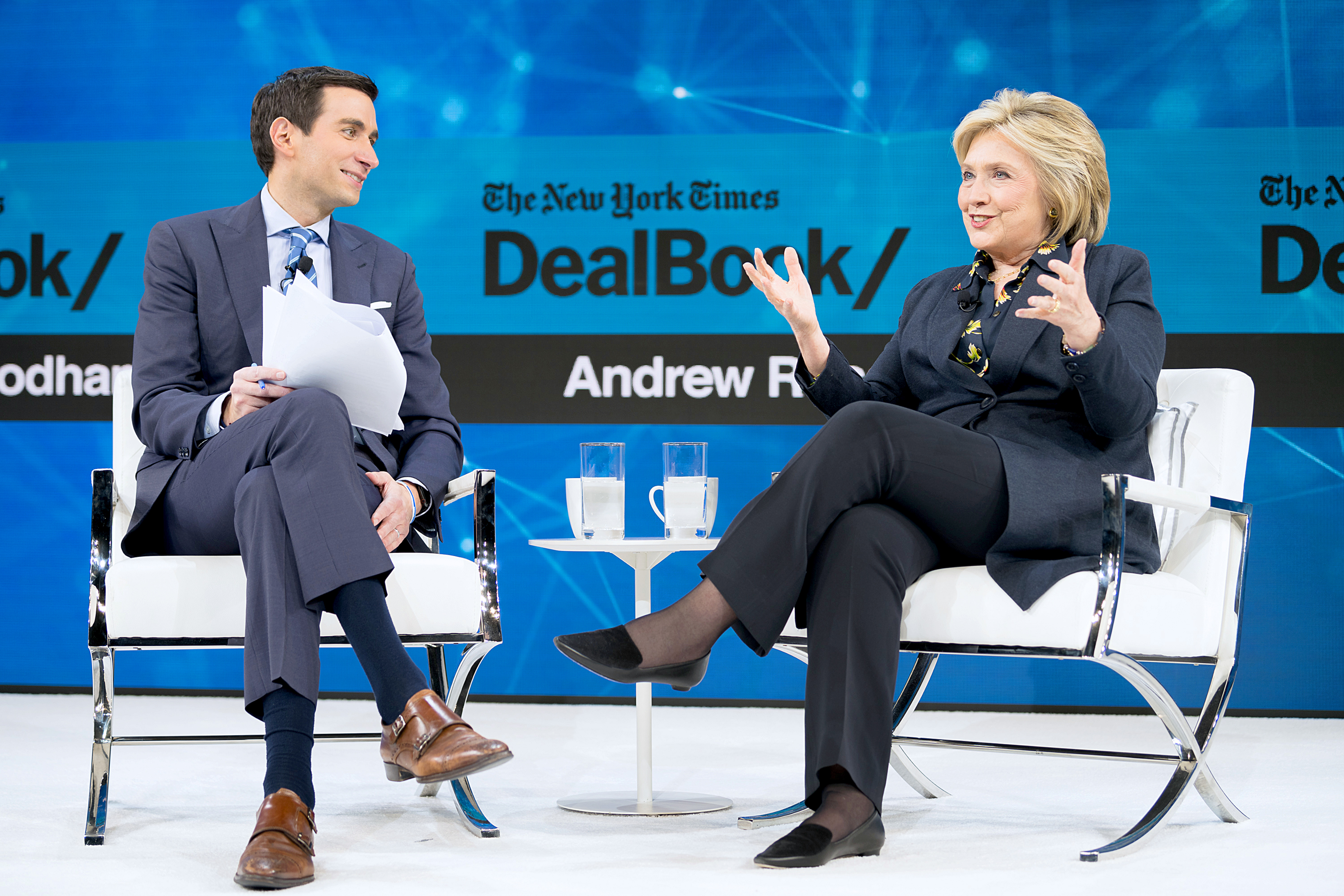 NEW YORK, NEW YORK - NOVEMBER 06: Andrew Ross Sorkin, Editor at Large, Columnist and Founder, DealBook, The New York Times speaks with Hillary Rodham Clinton, Former First Lady, U.S. Senator, U.S. Secretary of State onstage at 2019 New York Times Dealbook on November 06, 2019 in New York City. (Photo by Mike Cohen/Getty Images for The New York Times)