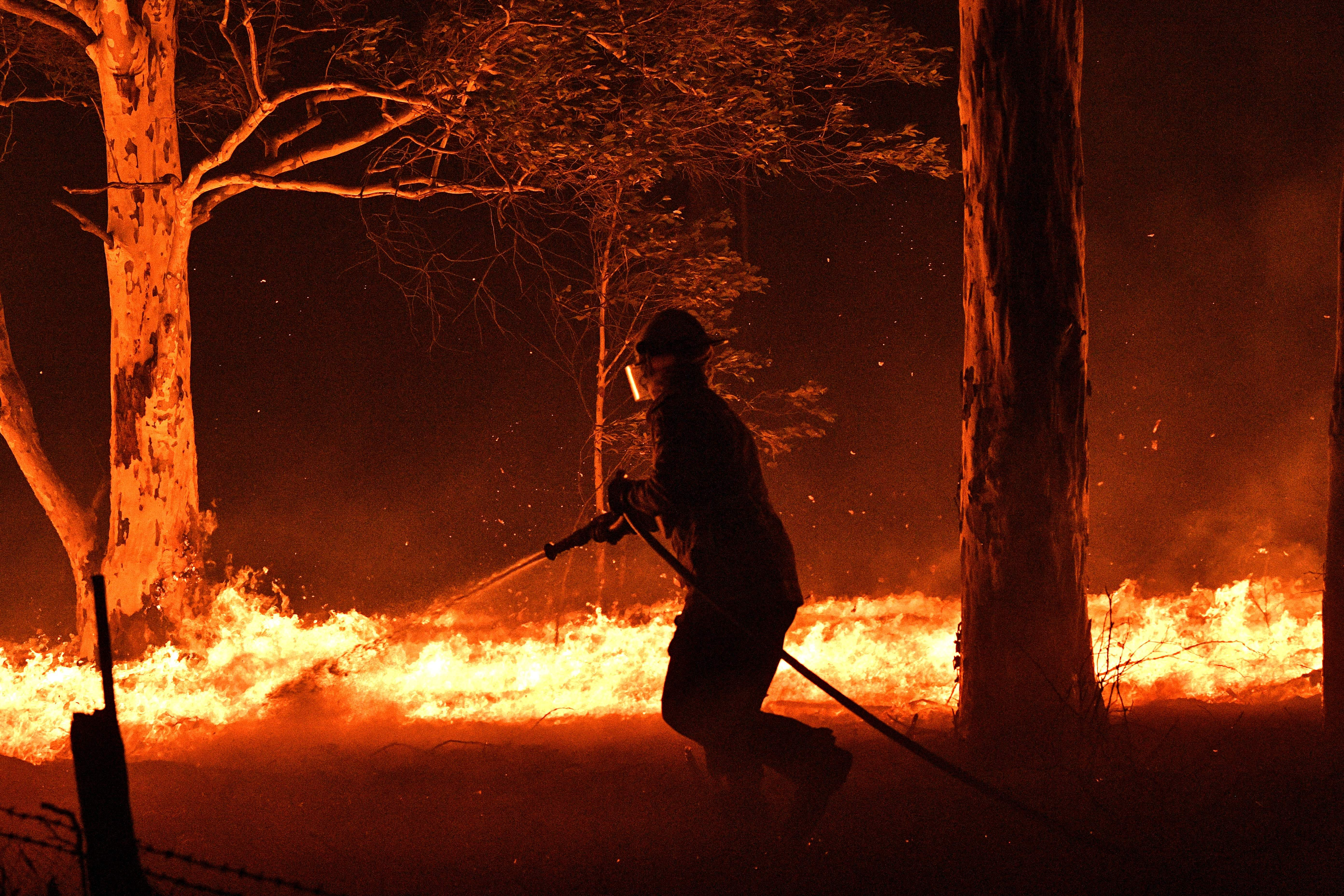 This picture taken on December 31, 2019 shows a firefighter hosing down trees and flying embers in an effort to secure nearby houses from bushfires near the town of Nowra in the Australian state of New South Wales. - Fire-ravaged Australia has launched a major operation to reach thousands of people stranded in seaside towns after deadly bushfires ripped through popular tourist areas on New Year's Eve. (Photo by SAEED KHAN/AFP via Getty Images)
