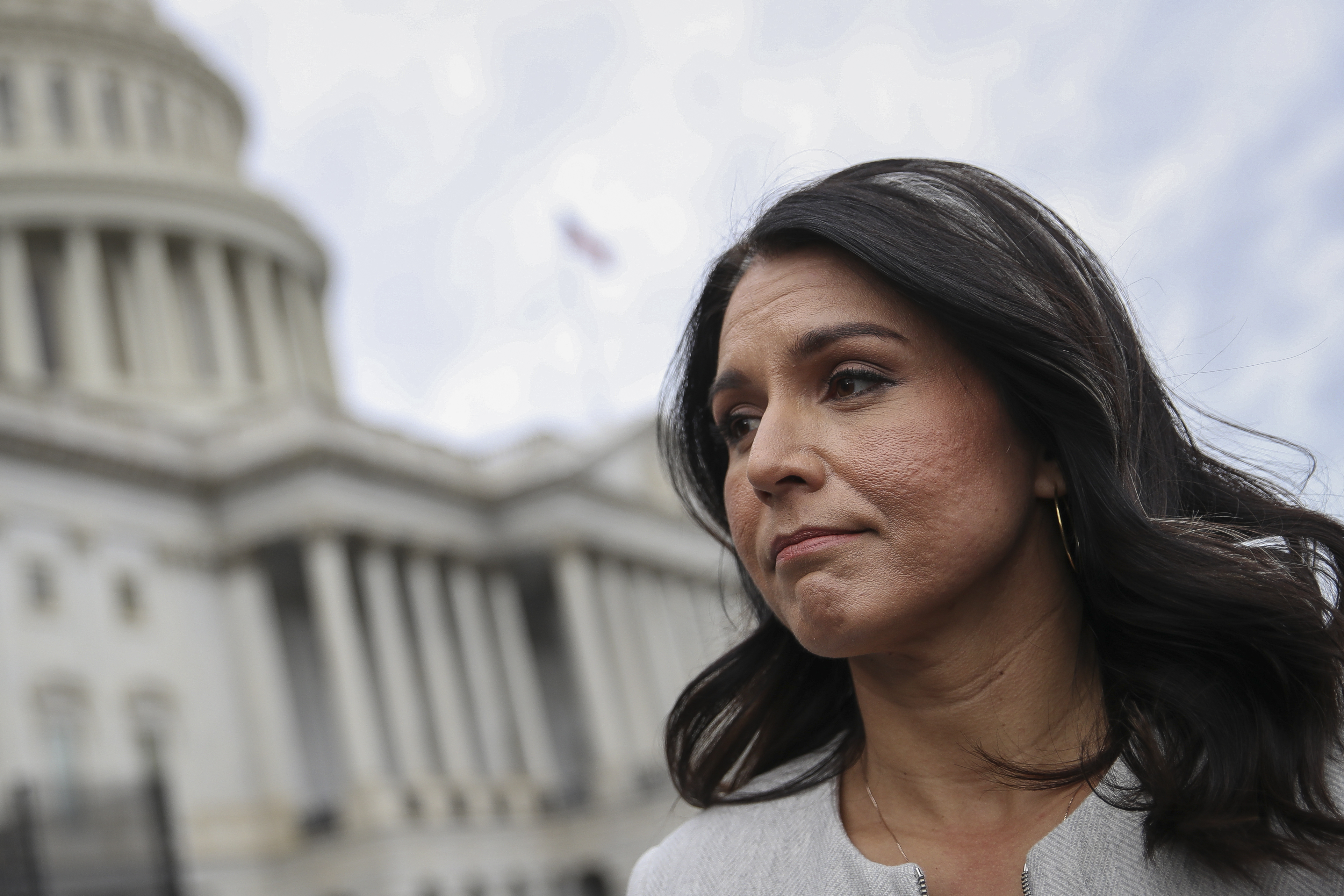 WASHINGTON, DC JANUARY 10: Democratic Presidential candidate Rep. Tulsi Gabbard (D-HI) speaks to reporters at U.S. Capitol after the last votes of the week on January 10, 2020 in Washington, DC. Speaker of the House Nancy Pelosi (D-CA) announced Friday that next week the House will consider a resolution to appoint impeachment managers and transmit the articles of impeachment to the Senate. (Photo by Drew Angerer/Getty Images)