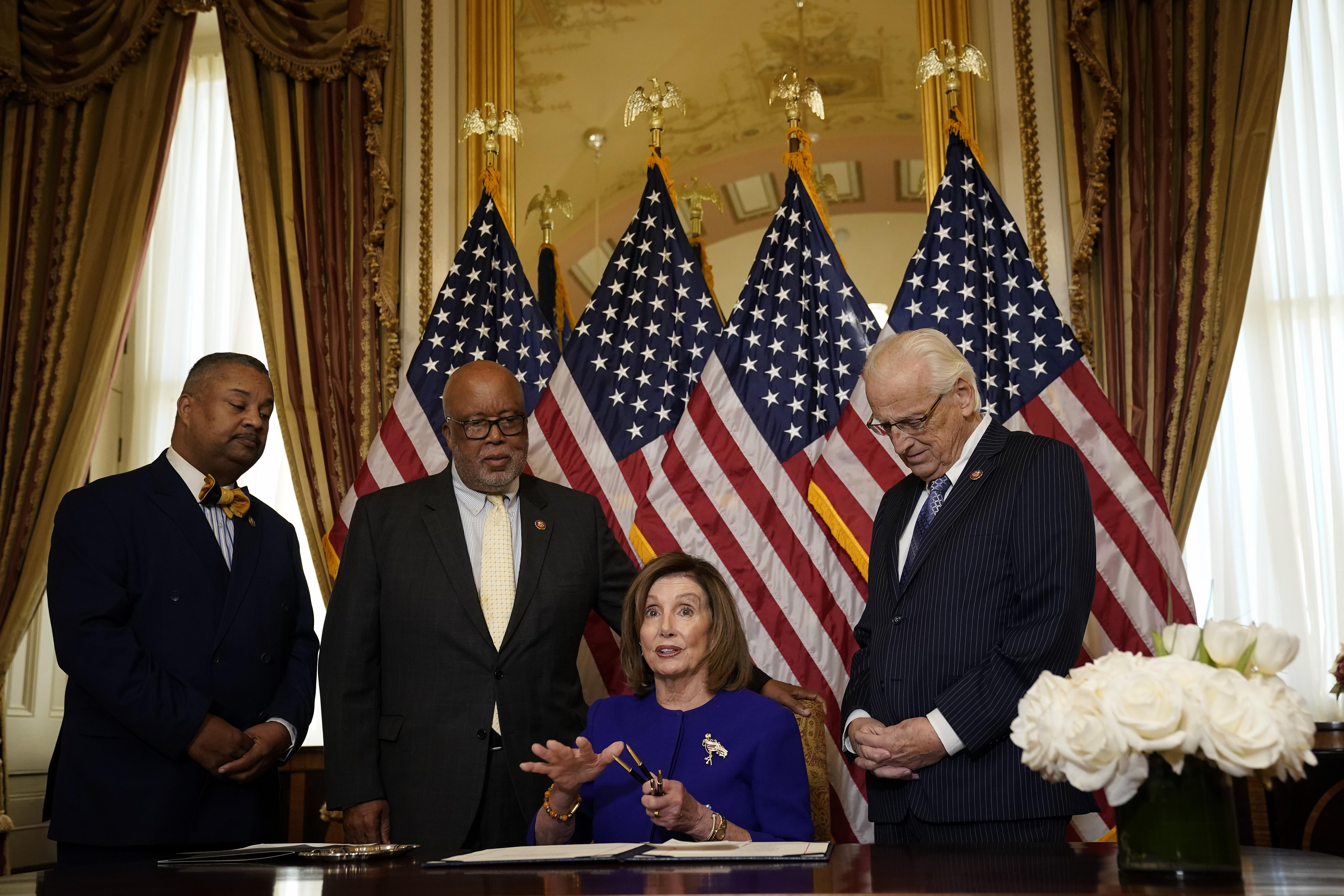 U.S. Speaker of the House Nancy Pelosi (D-CA) participates in a bill enrollment ceremony at the U.S. Capitol January 9, 2020 in Washington, DC. (Win McNamee/Getty Images)