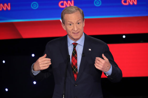 DES MOINES, IOWA - JANUARY 14: Tom Steyer speaks during the Democratic presidential primary debate at Drake University on January 14, 2020 in Des Moines, Iowa. Six candidates out of the field qualified for the first Democratic presidential primary debate of 2020, hosted by CNN and the Des Moines Register. (Photo by Scott Olson/Getty Images)