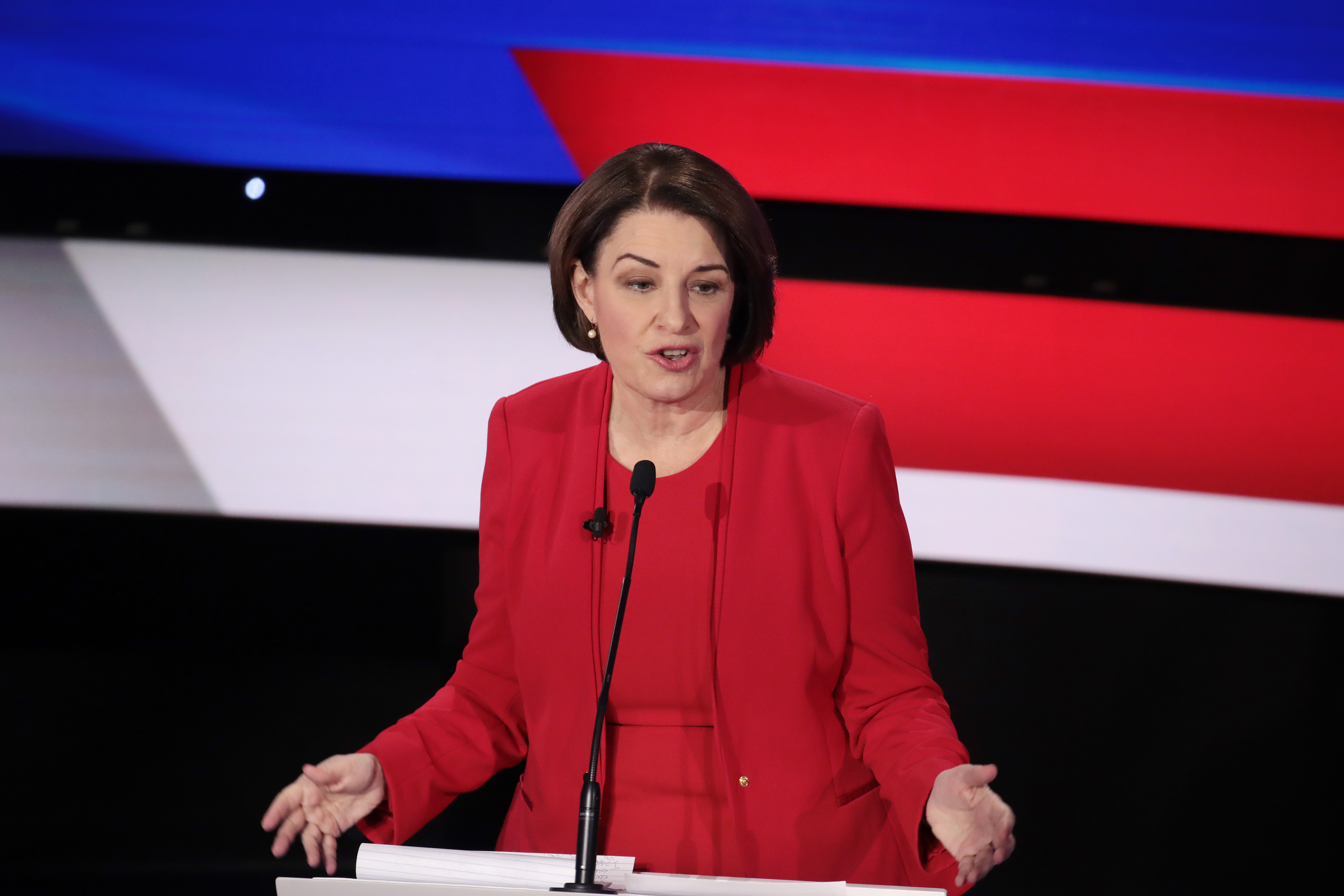 Sen. Amy Klobuchar (D-MN) speaks during the Democratic presidential primary debate at Drake University on January 14, 2020 in Des Moines, Iowa. (Scott Olson/Getty Images)
