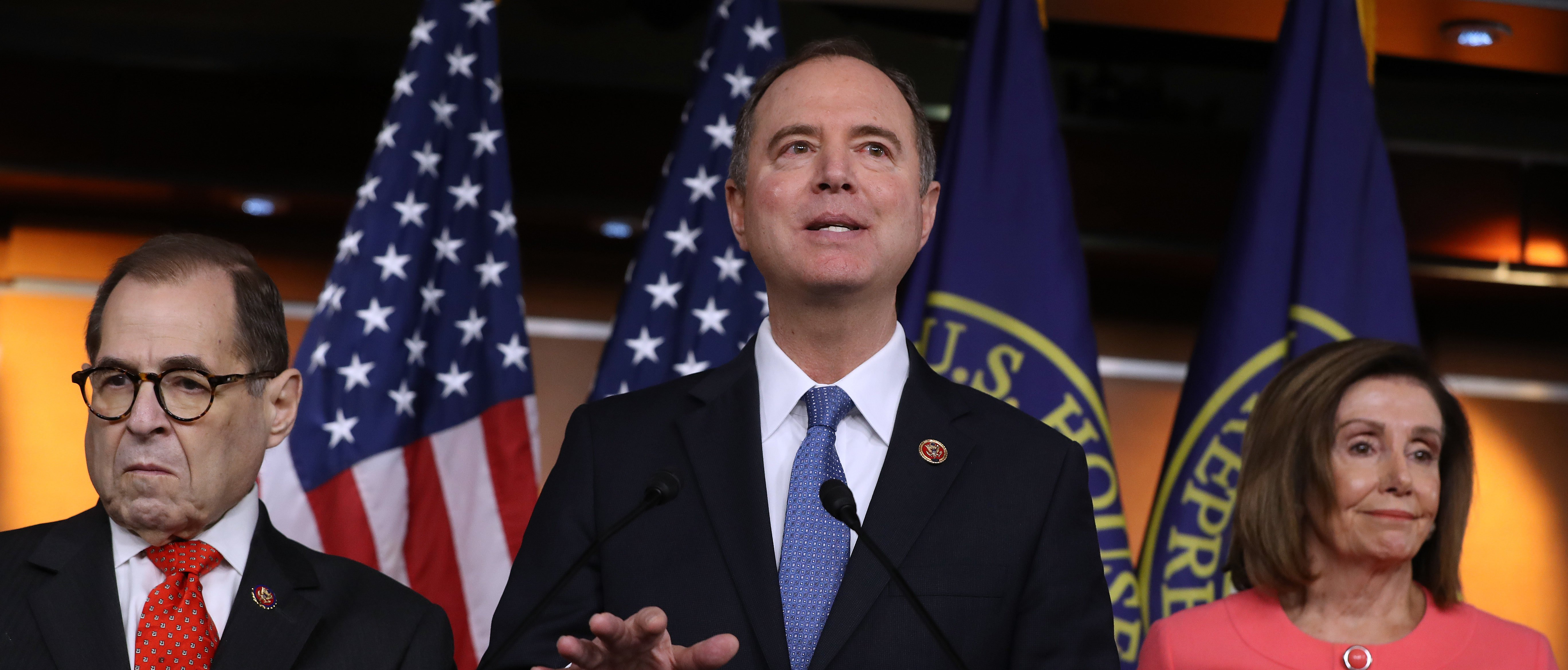 WASHINGTON, DC - JANUARY 15: House Intelligence Committee Chairman Adam Schiff (D-CA) (C) speaks after U.S. Speaker of the House Nancy Pelosi (D-CA) (R) announces that he and House Judiciary Committee Chairman Jerrold Nadler (D-NY) and five additional members will be managers of the Senate impeachment trial of President Donald Trump at the U.S. Capitol January 15, 2020 in Washington, DC. The House of Representatives is scheduled to vote to send the articles of impeachment to the Senate later in the day and Senate Majority Leader Mitch McConnell (R-KY) said the trial will begin next Tuesday. (Photo by Chip Somodevilla/Getty Images)