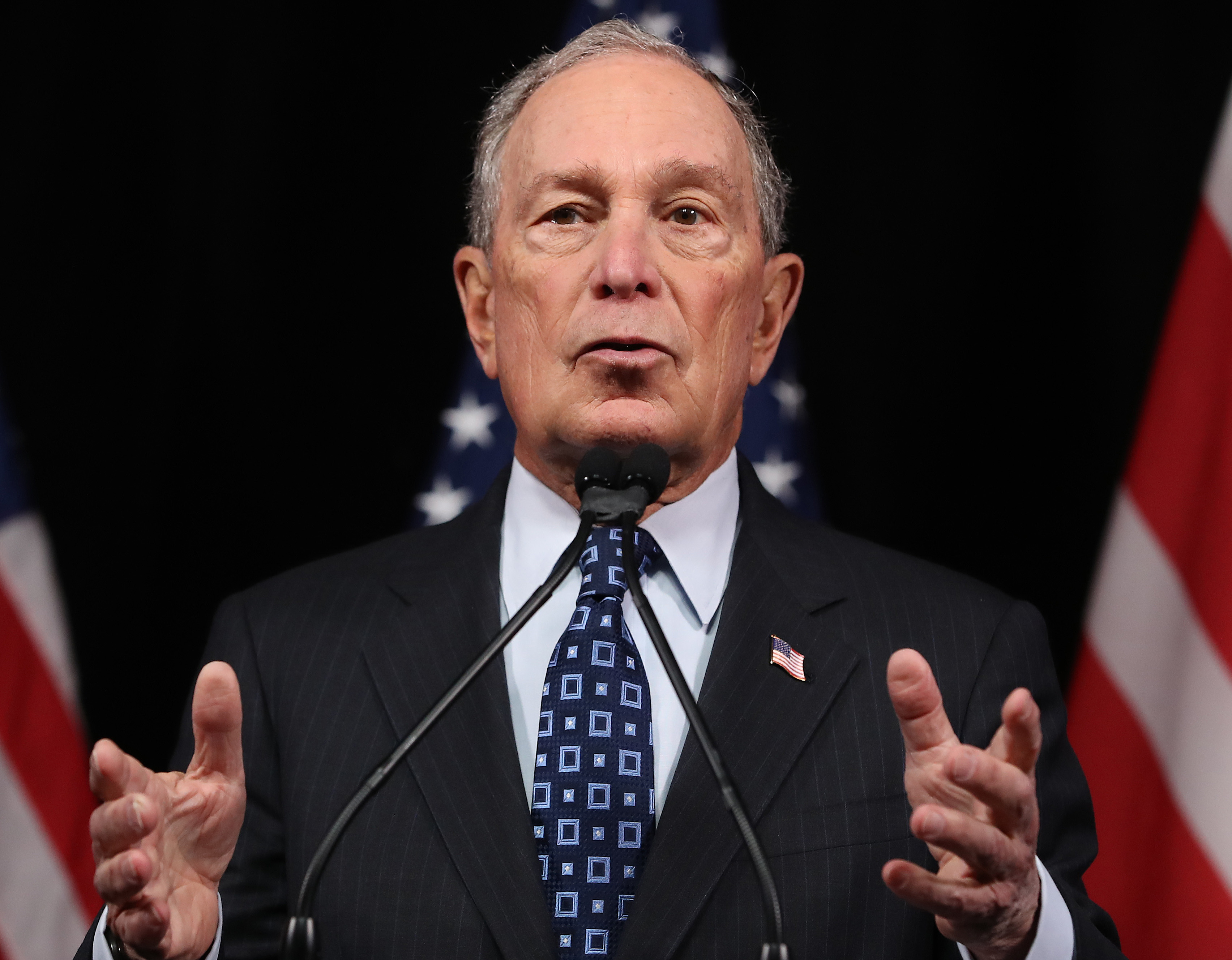 WASHINGTON, DC - JANUARY 30: Democratic presidential candidate, former New York City Mayor Michael Bloomberg speaks about affordable housing during a campaign event where he received an endorsement from District of Columbia Mayor, Muriel Bowser, on January 30, 2020 in Washington, DC. The first-in-the-nation Iowa caucuses will be held February 3. (Photo by Mark Wilson/Getty Images)
