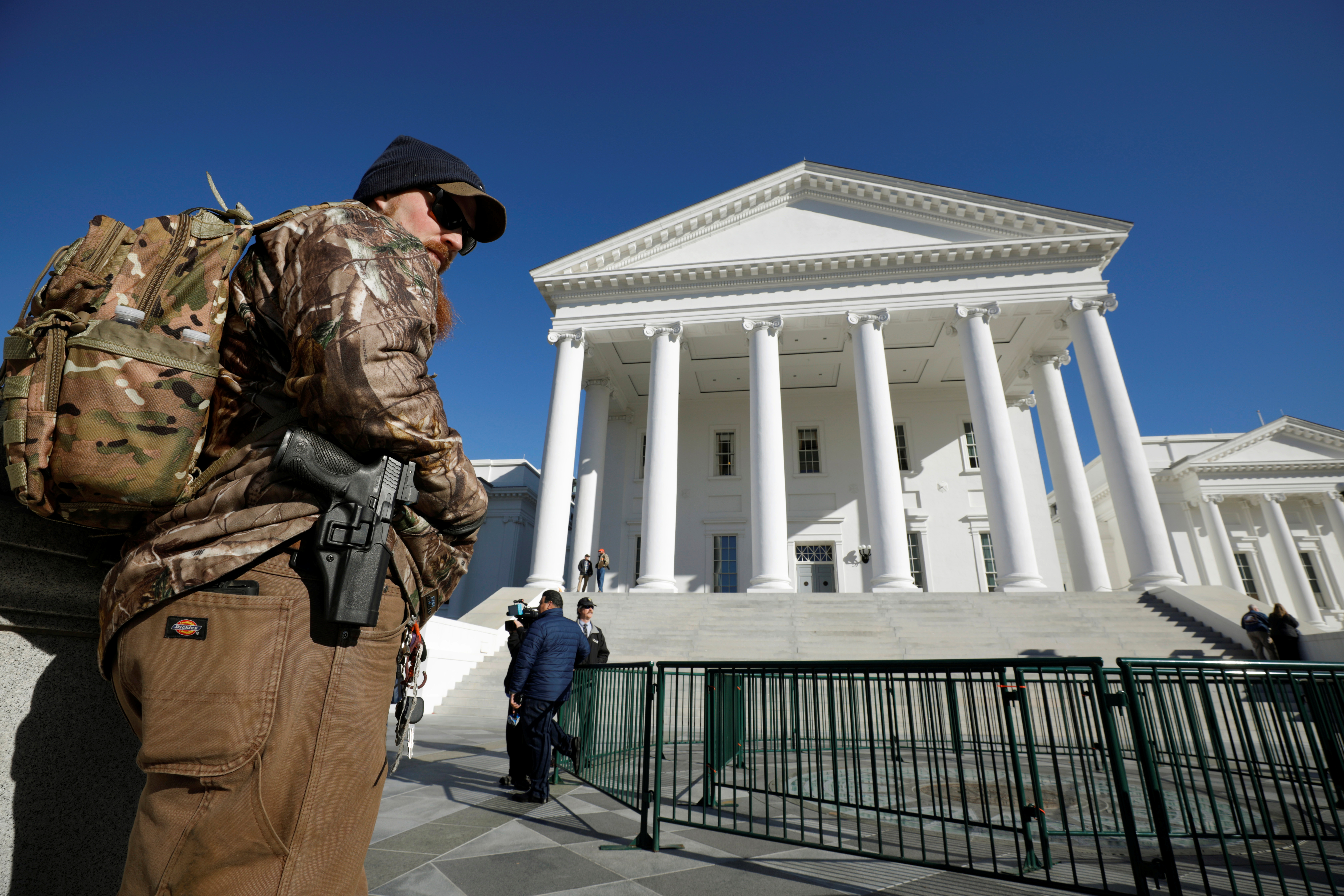 Gun rights activist with handgun outside the Capitol building in Richmond, Virginia