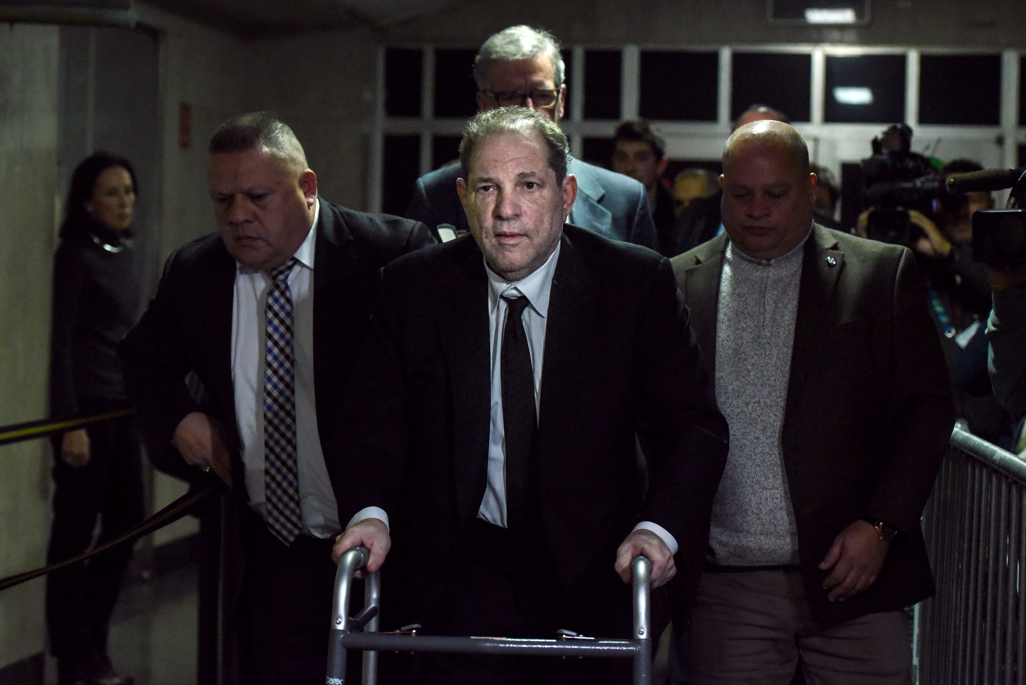 Harvey Weinstein leaves the courtroom in New York City criminal court on January 6, 2020 in New York City. Weinstein, a movie producer whose alleged sexual misconduct helped spark the #MeToo movement, pleaded not-guilty on five counts of rape and sexual assault against two unnamed women and faces a possible life sentence in prison. (Photo by Stephanie Keith/Getty Images)