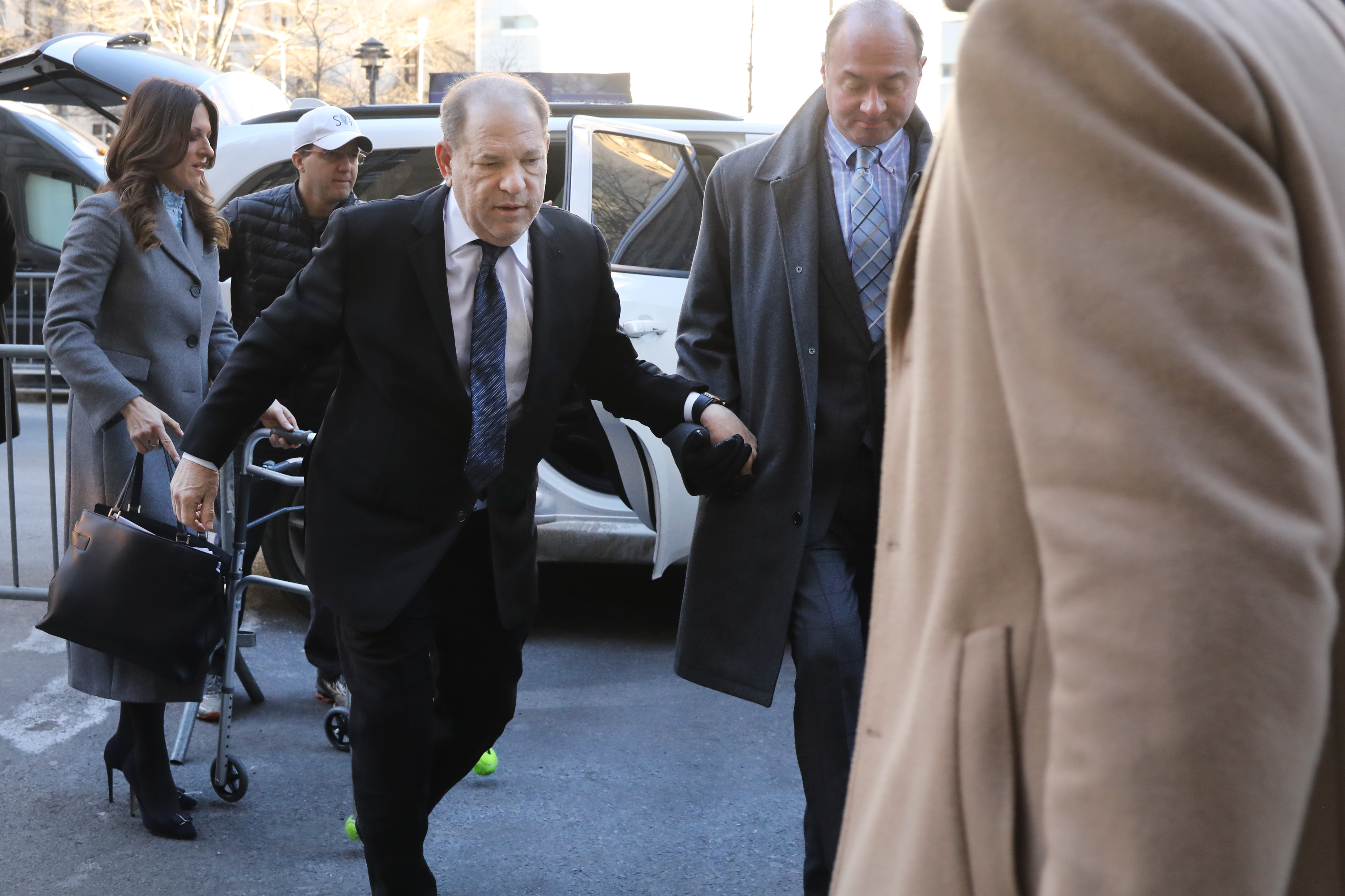 Harvey Weinstein arrives at a Manhattan court house for the first day of opening statements at his trial on January 22, 2020 in New York City. Weinstein, a movie producer whose alleged sexual misconduct helped spark the #MeToo movement, pleaded not-guilty on five counts of rape and sexual assault against two unnamed women and faces a possible life sentence in prison. (Photo by Spencer Platt/Getty Images)