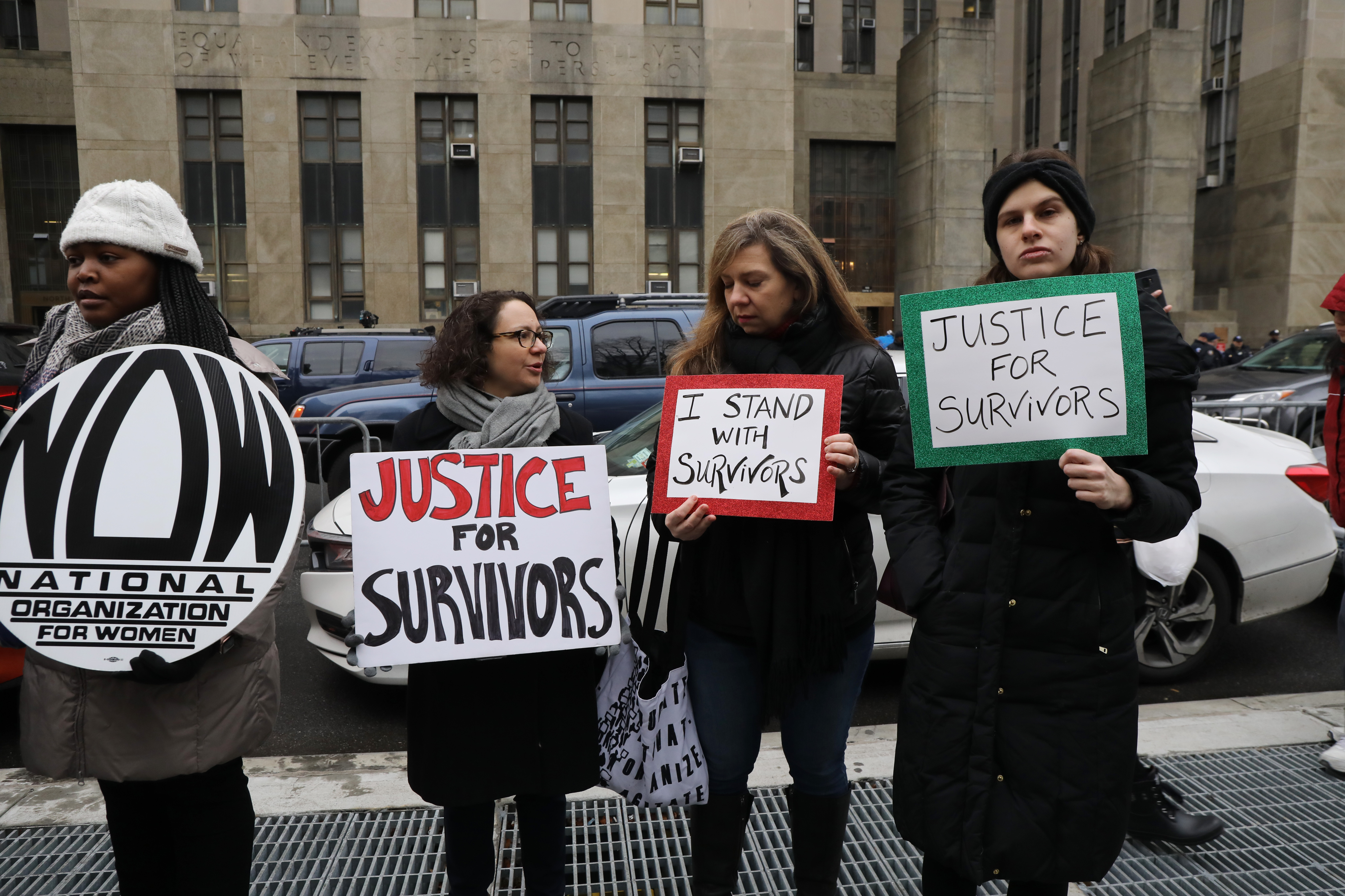 Protesters gather as Harvey Weinstein arrives at a Manhattan court house on January 06, 2020 in New York City. Weinstein, a movie producer whose alleged sexual misconduct helped spark the #MeToo movement, pleaded not-guilty on five counts of rape and sexual assault against two unnamed women and faces a possible life sentence in prison. (Photo by Spencer Platt/Getty Images)