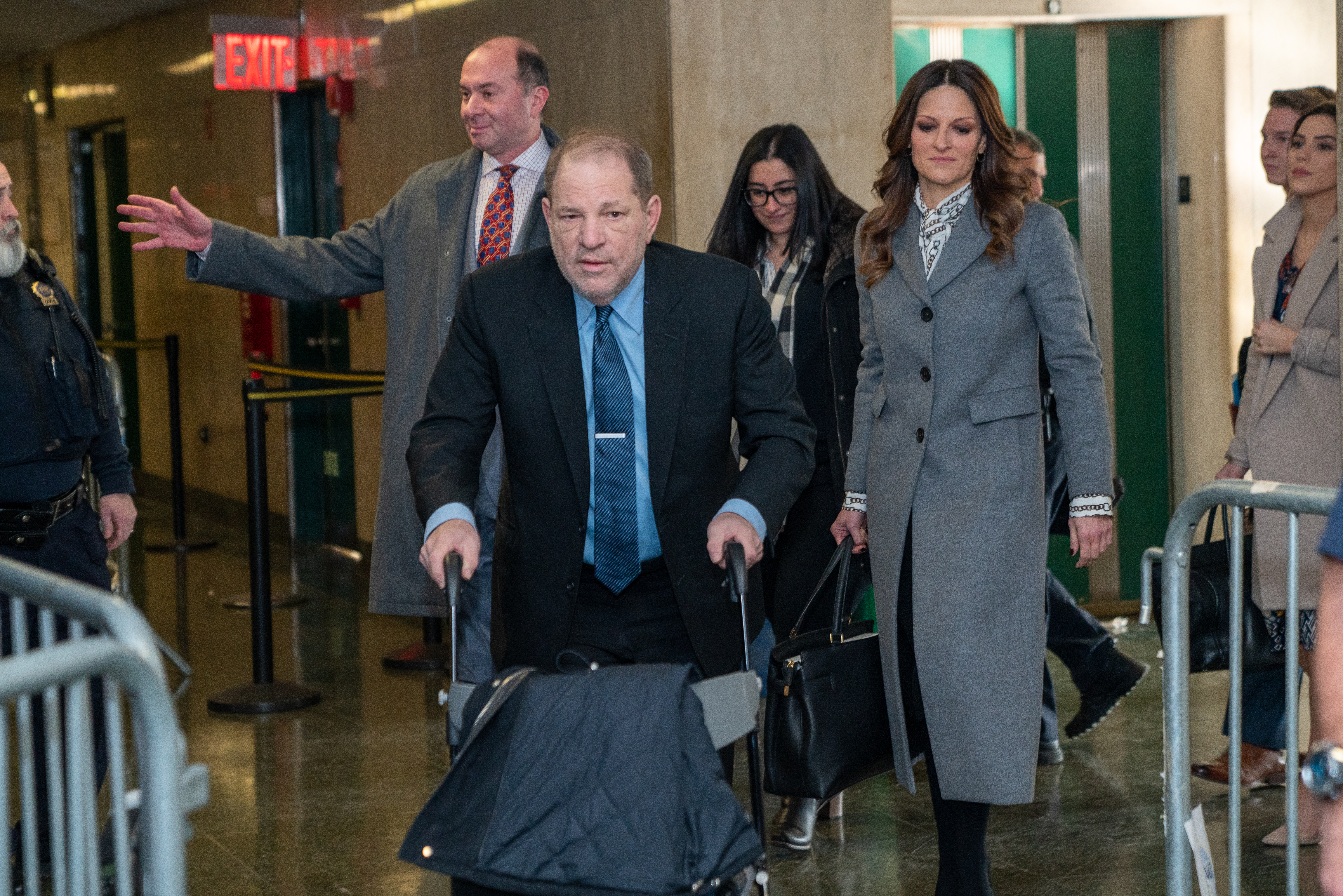 Harvey Weinstein arrives at Manhattan Criminal Court for his sexual assault trial on January 29, 2020 in New York City. Weinstein, whose alleged sexual misconduct helped spark the #MeToo movement, pleaded not-guilty on five counts of rape and sexual assault against two unnamed women and faces a possible life sentence in prison. (Photo by David Dee Delgado/Getty Images)