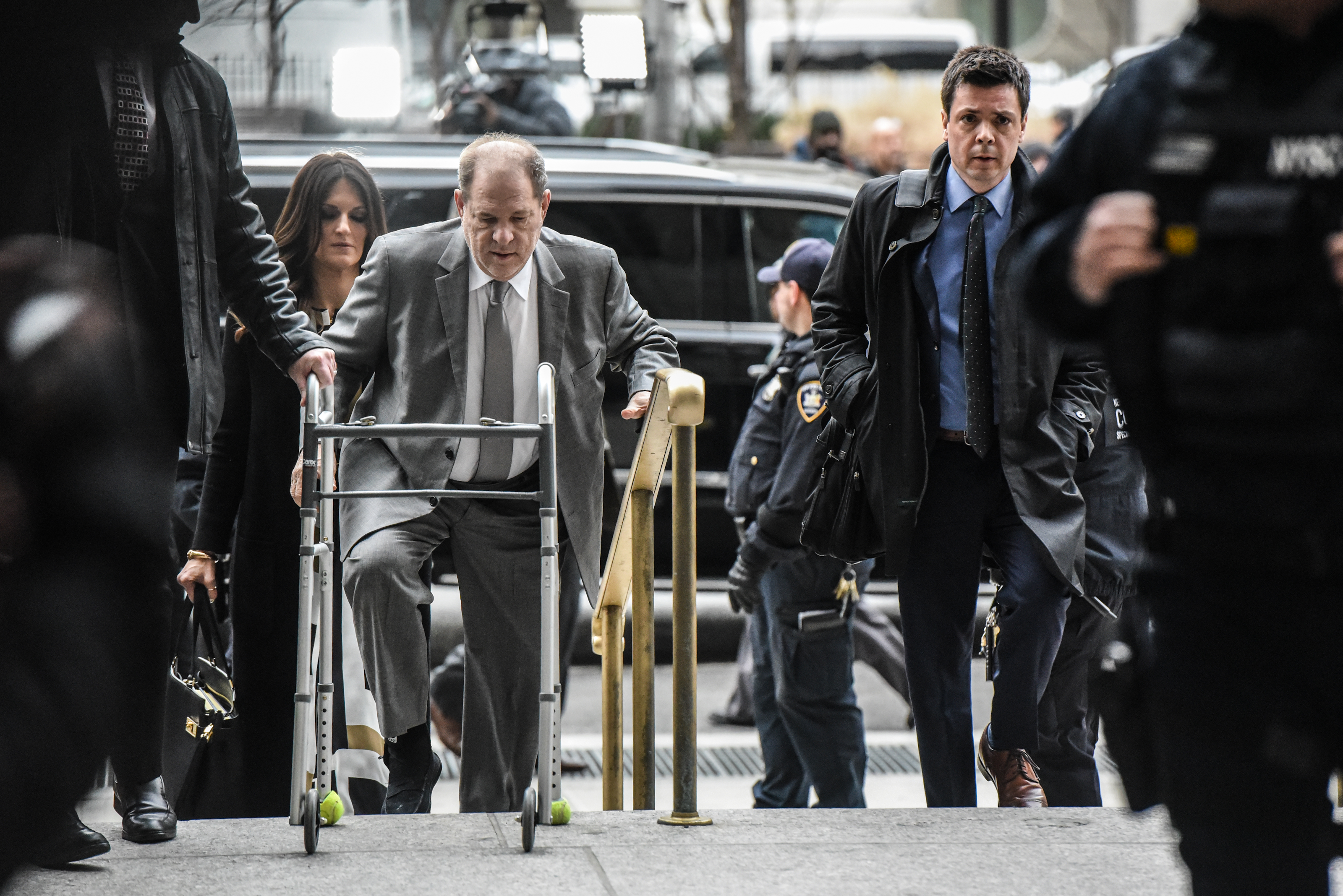 Harvey Weinstein arrives at New York City criminal court for his sex crimes trial on January 7, 2020 in New York City. Weinstein, a movie producer whose alleged sexual misconduct helped spark the #MeToo movement, pleaded not-guilty on five counts of rape and sexual assault against two unnamed women and faces a possible life sentence in prison. (Photo by Stephanie Keith/Getty Images)