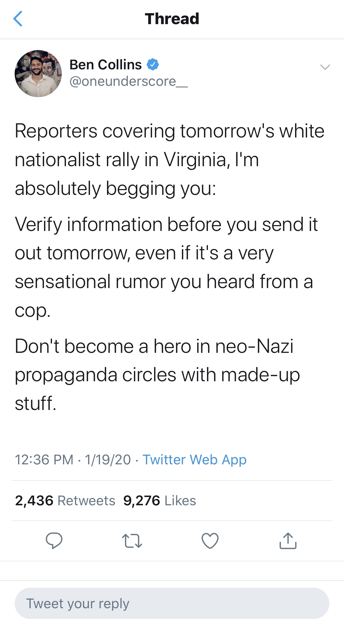 "NBC reporter Ben Collins claimed that a Second Amendment rally in Virginia Monday was a ""white supremacist rally."" (Screenshot Twitter: Ben Collins, @oneunderscore_)"