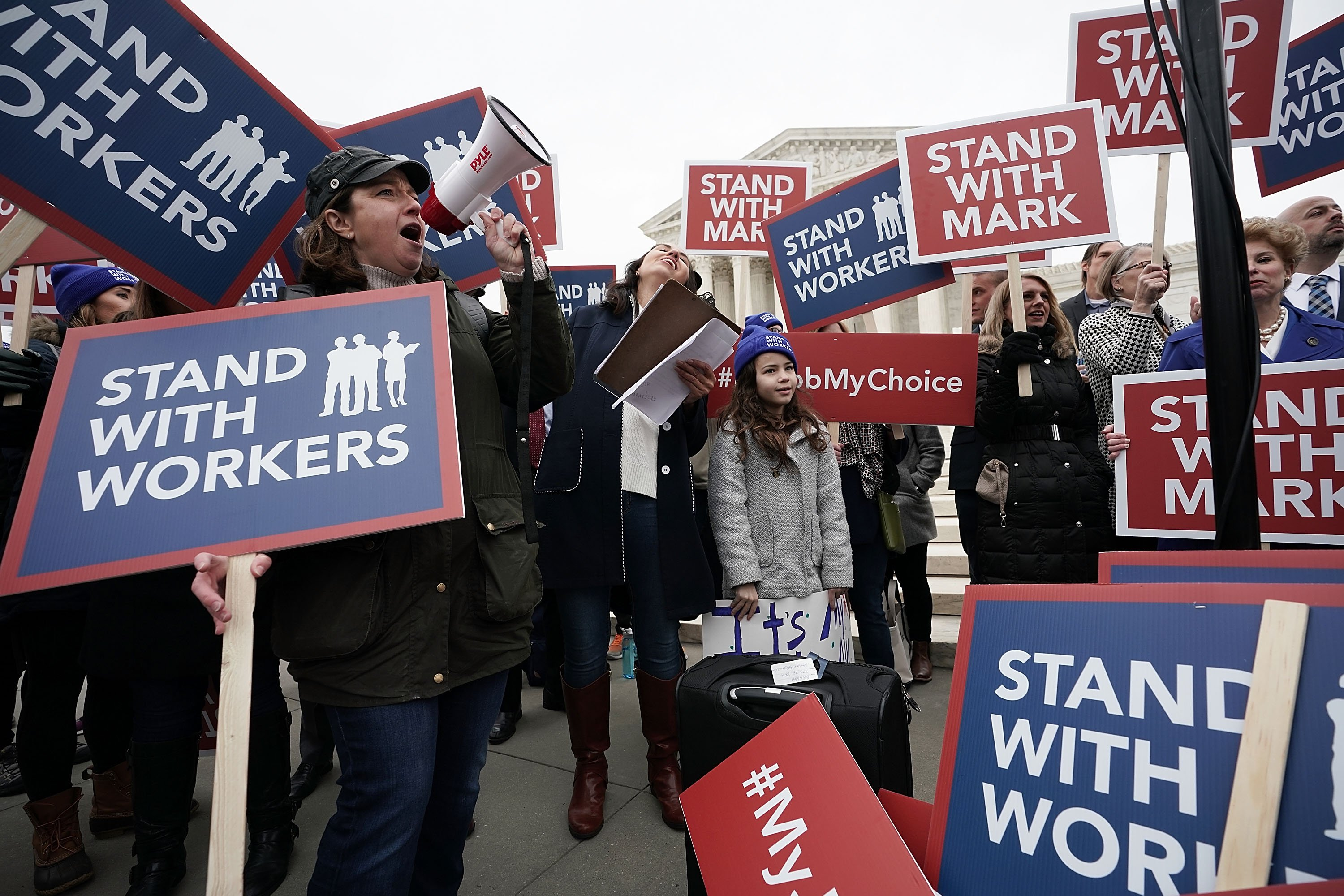 Activists rally in front of the Supreme Court before arguments in Janus v. AFSCME on February 26, 2018. (Alex Wong/Getty Images)
