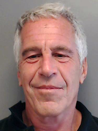 In this handout provided by the Florida Department of Law Enforcement, Jeffrey Epstein poses for a sex offender mugshot after being charged with procuring a minor for prostitution on July 25, 2013 in Florida. (Photo by Florida Department of Law Enforcement via Getty Images)