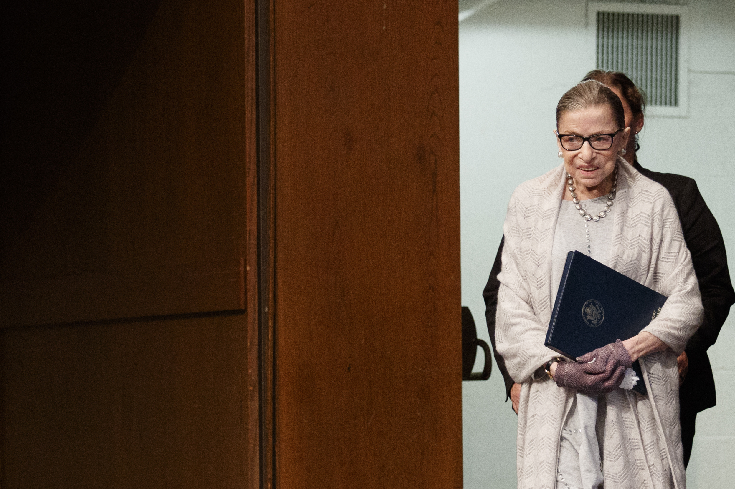 Justice Ruth Bader Ginsburg delivers remarks at the Georgetown University Law Center on September 12, 2019. (Tom Brenner/Getty Images)