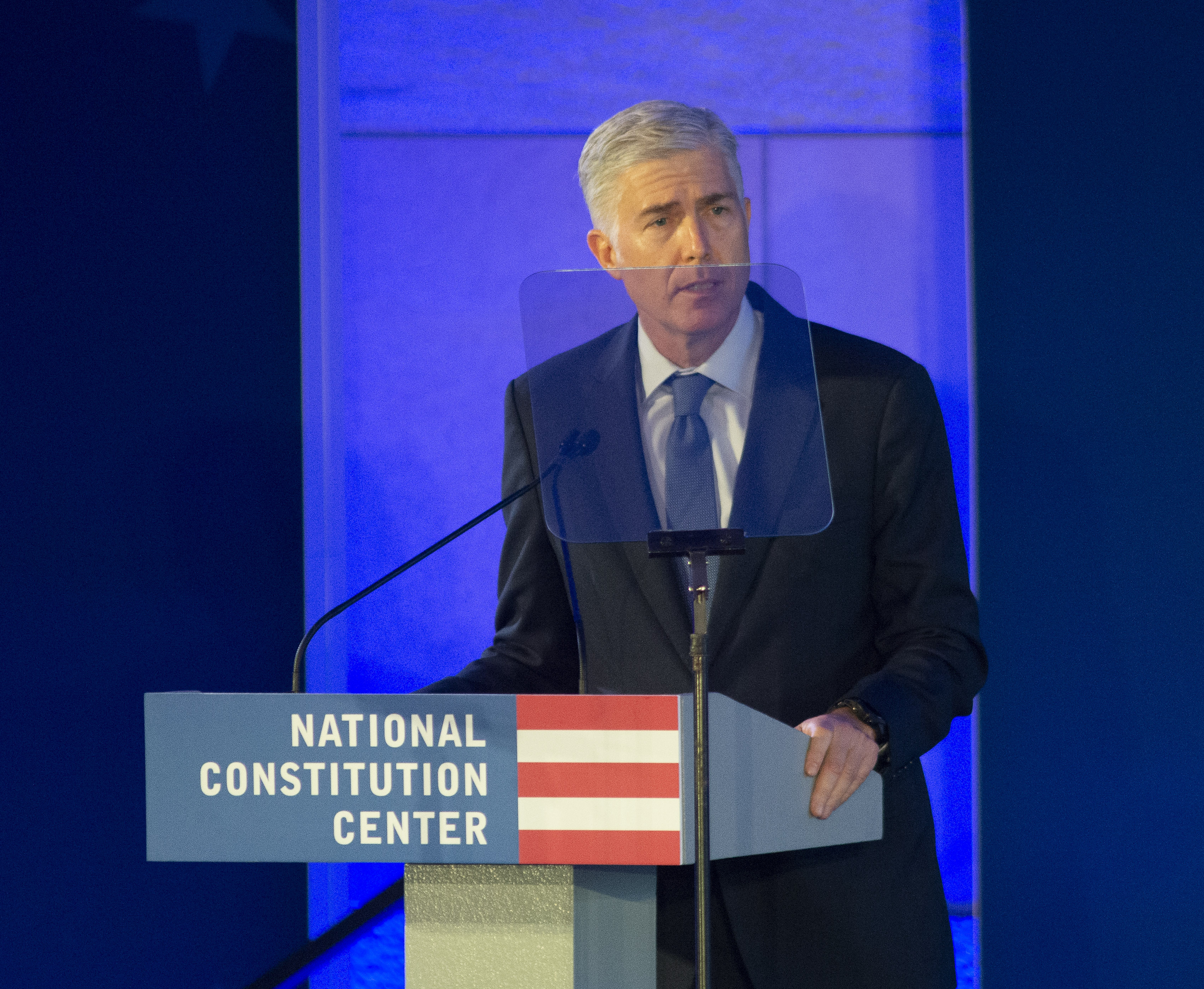 Justice Neil Gorsuch makes remarks at the National Constitution Center on October 27, 2019. (William Thomas Cain/Getty Images)