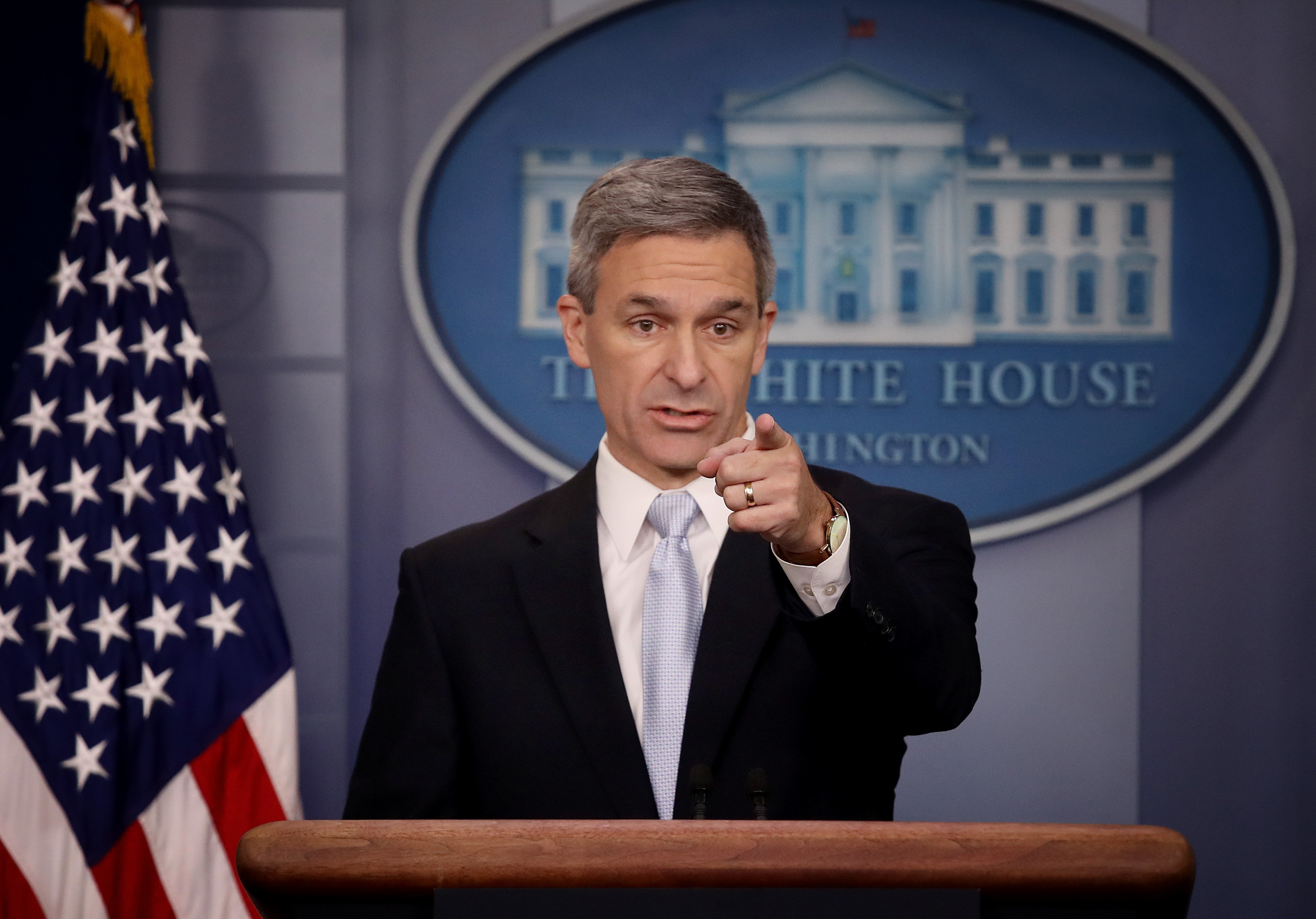 Acting Director of U.S. Citizenship and Immigration Services Ken Cuccinelli speaks at the White House on August 12, 2019. (Win McNamee/Getty Images)