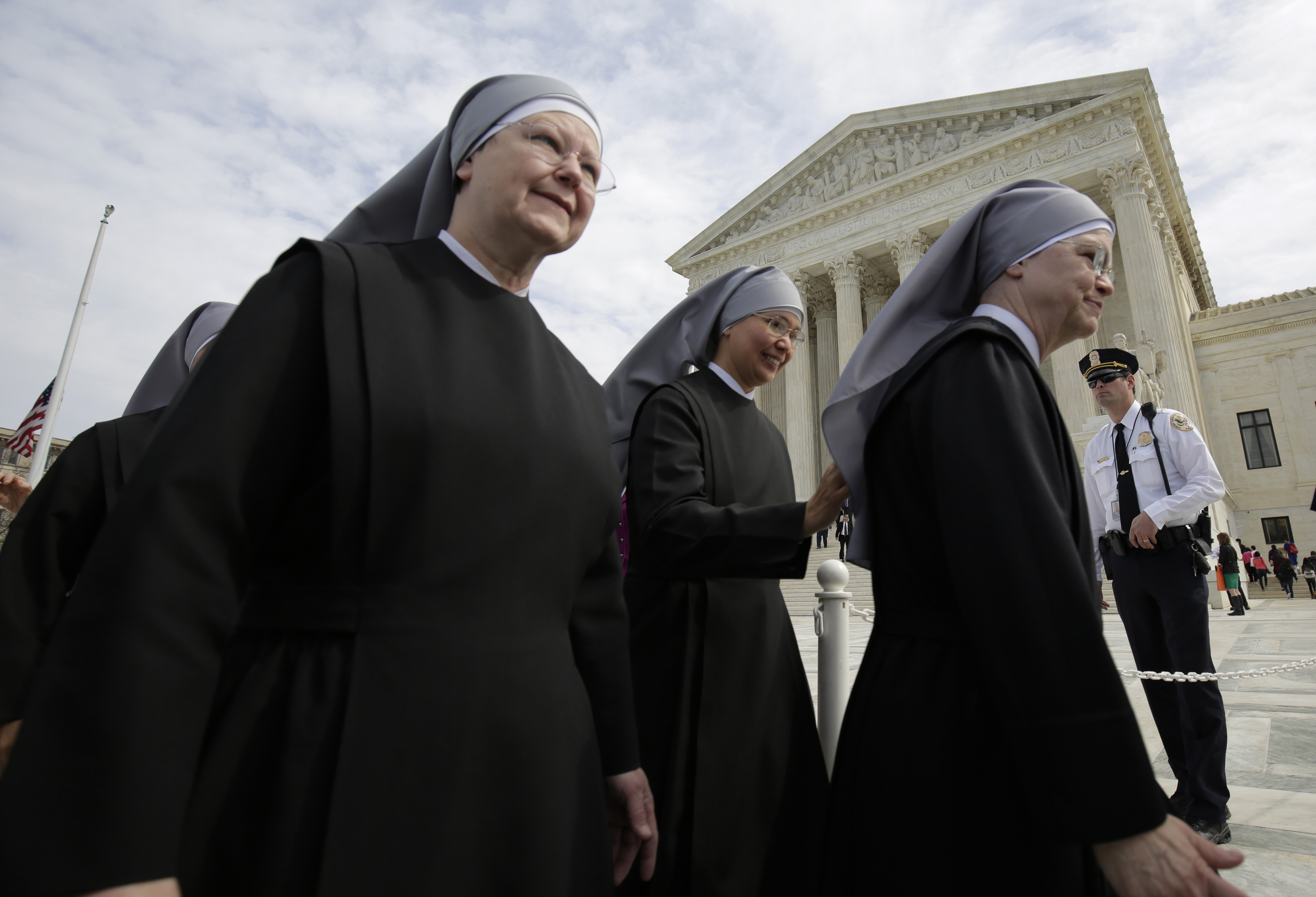 The Little Sisters of the Poor outside the Supreme Court on March 23, 2016. (Reuters/Joshua Roberts)
