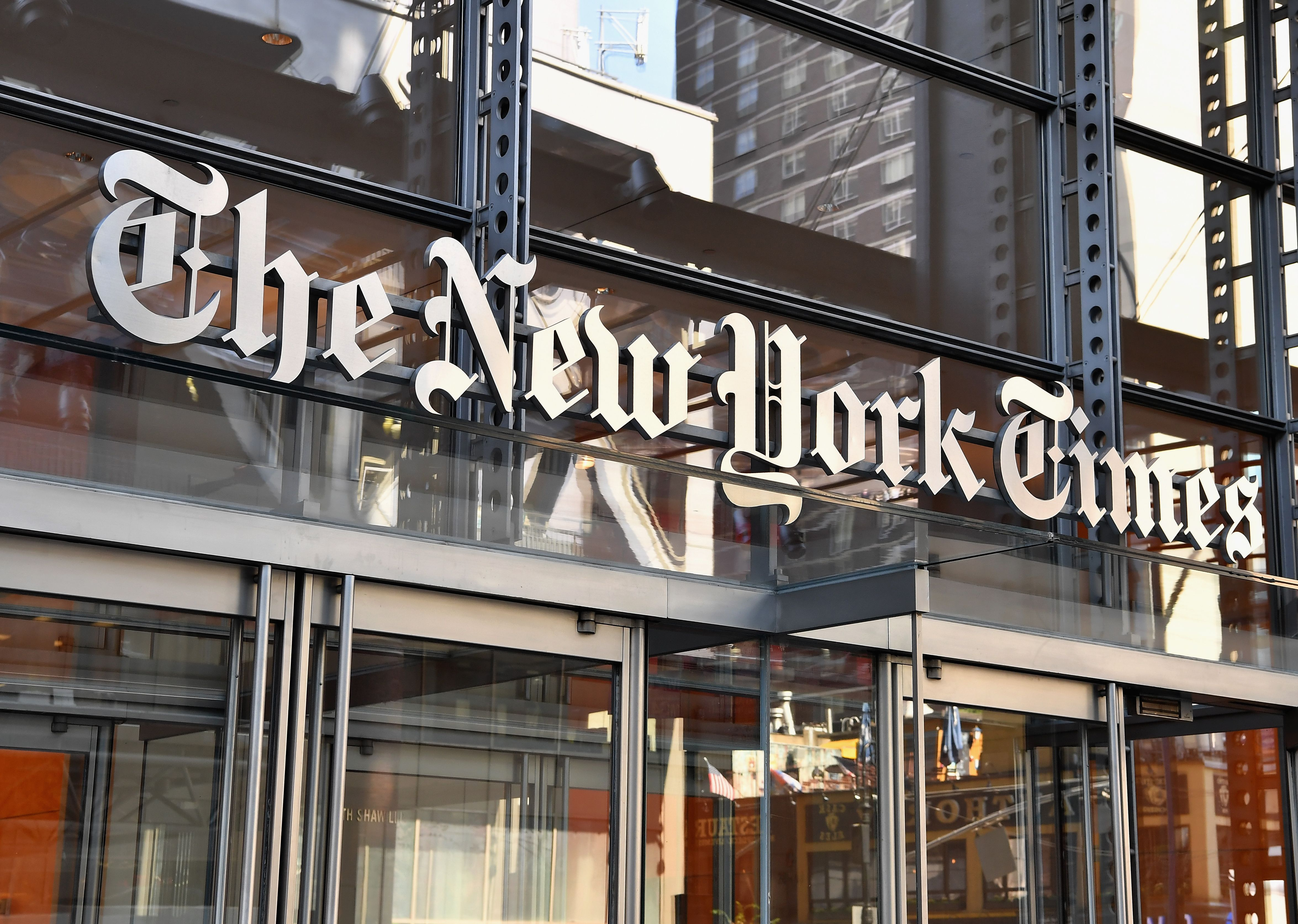 The New York Times building as seen on September 6, 2018. (Angela Weiss/AFP/Getty Images)