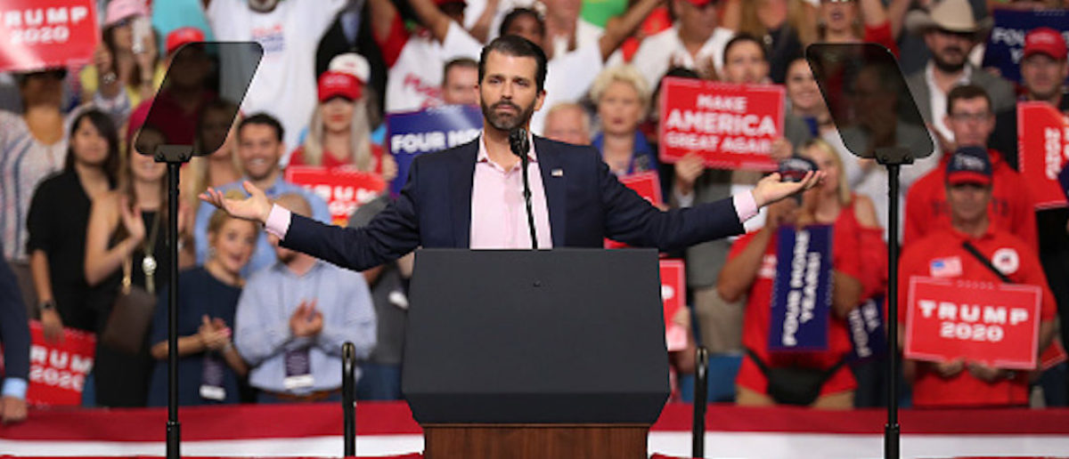 ORLANDO, FLORIDA - JUNE 18: Donald Trump Jr. speaks to the crowd before his father United States President Donald Trump arrives on stage to announce his candidacy for a second presidential term at the Amway Center on June 18, 2019 in Orlando, Florida. President Trump is set to run against a wide open Democratic field of candidates. (Photo by Joe Raedle/Getty Images)