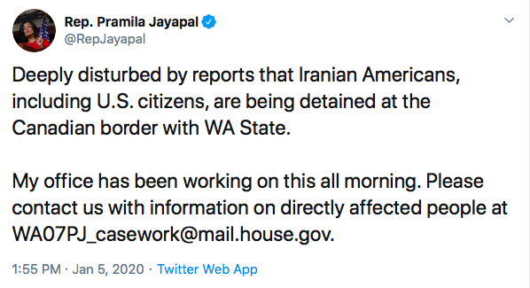 Pramila Jayapal tweet. Screenshot