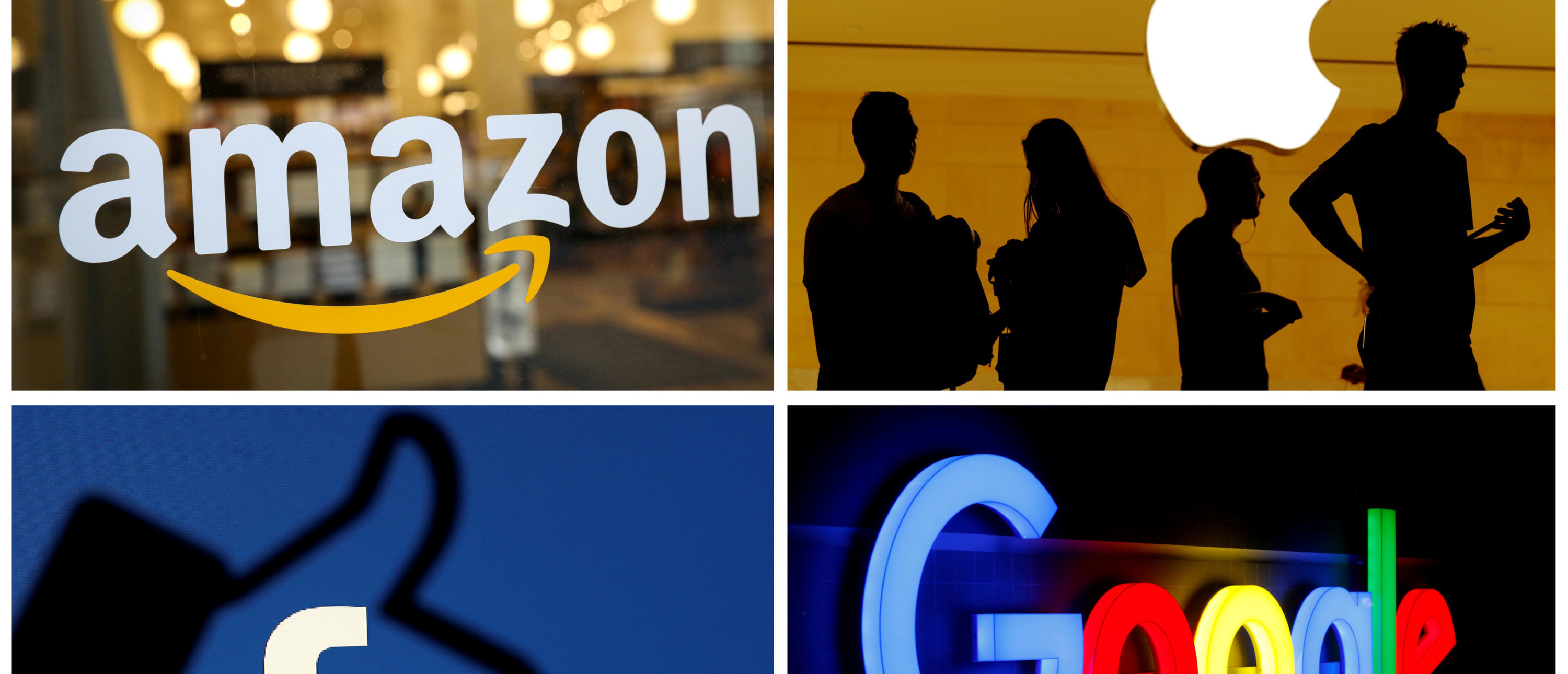 The logos of Amazon, Apple, Facebook and Google are seen in a combination photo from Reuters files. REUTERS/File Photos/File Photo