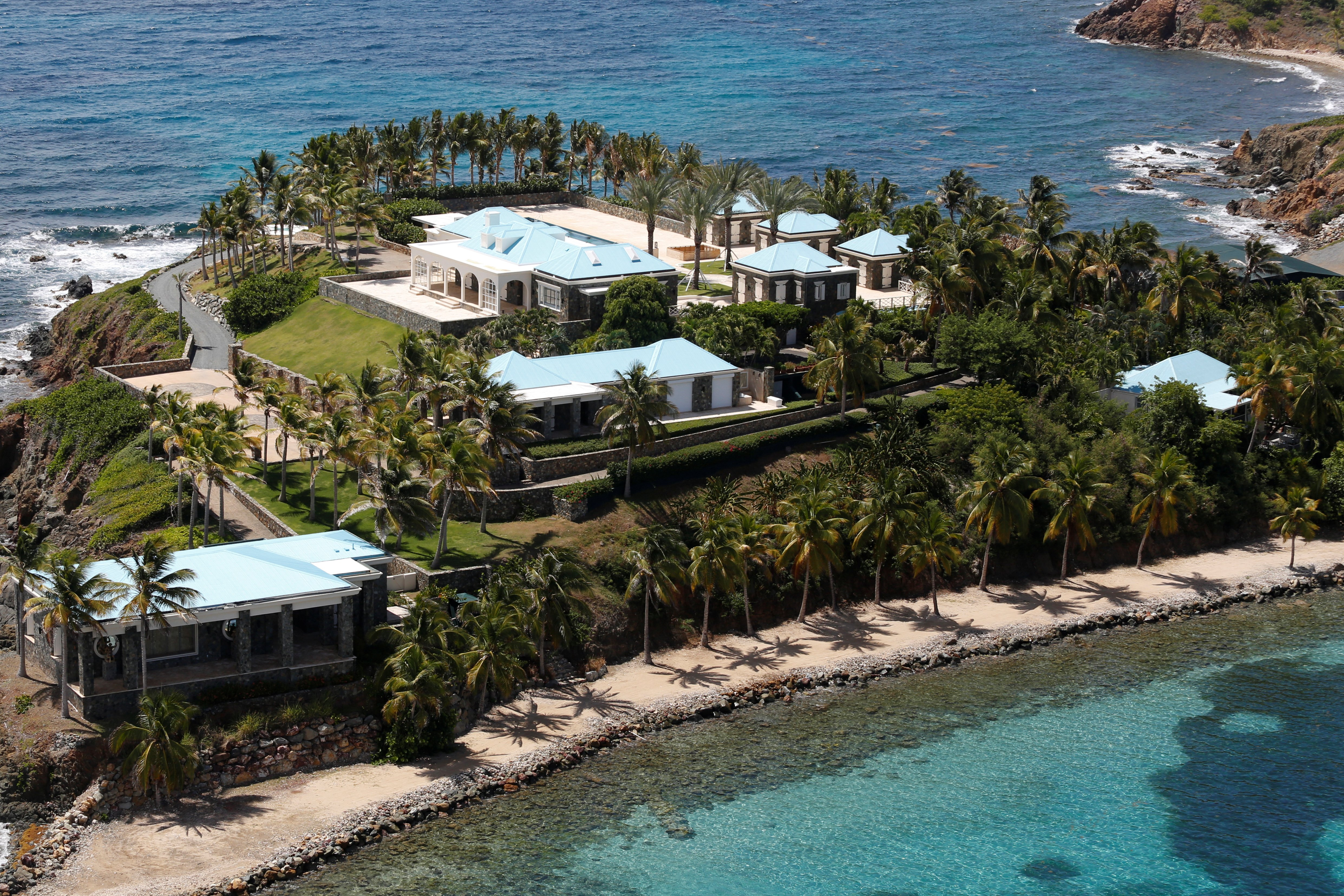 Facilities at Little St. James Island, one of the properties of financier Jeffrey Epstein, are seen in an aerial view, near Charlotte Amalie, St. Thomas, U.S. Virgin Islands July 21, 2019. (REUTERS/Marco Bello)