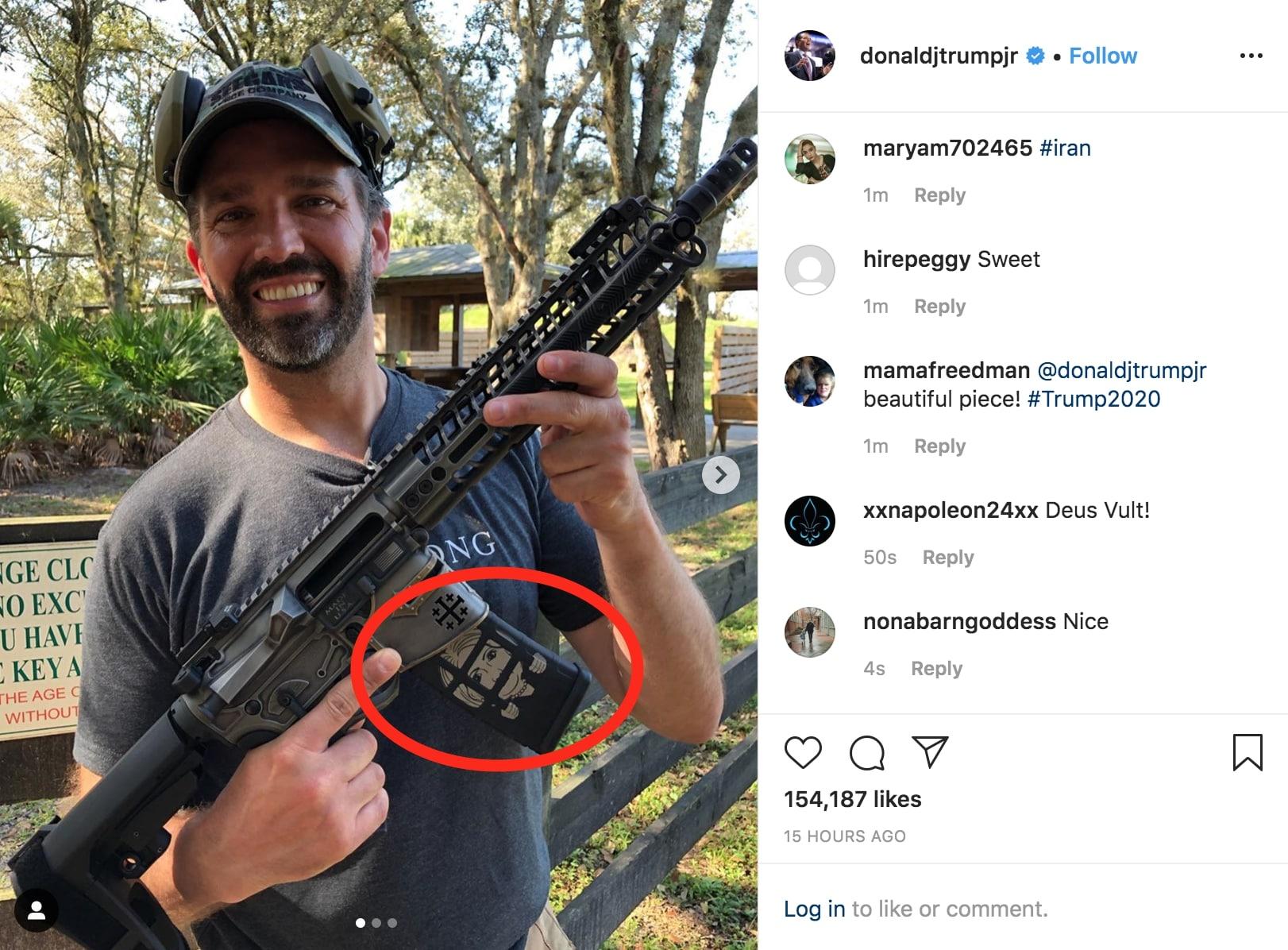 """Image result for trump jr. instagram gun"""""""
