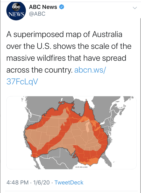 A now-deleted tweet from ABC News claimed to show the spread of wildfires in Australia superimposed on top of a U.S. map. (Screenshot Twitter, ABC News)