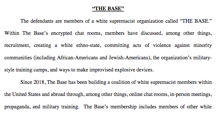 "The FBI describes ""The Base"" in its motion for detention. (Screenshot/FBI)"